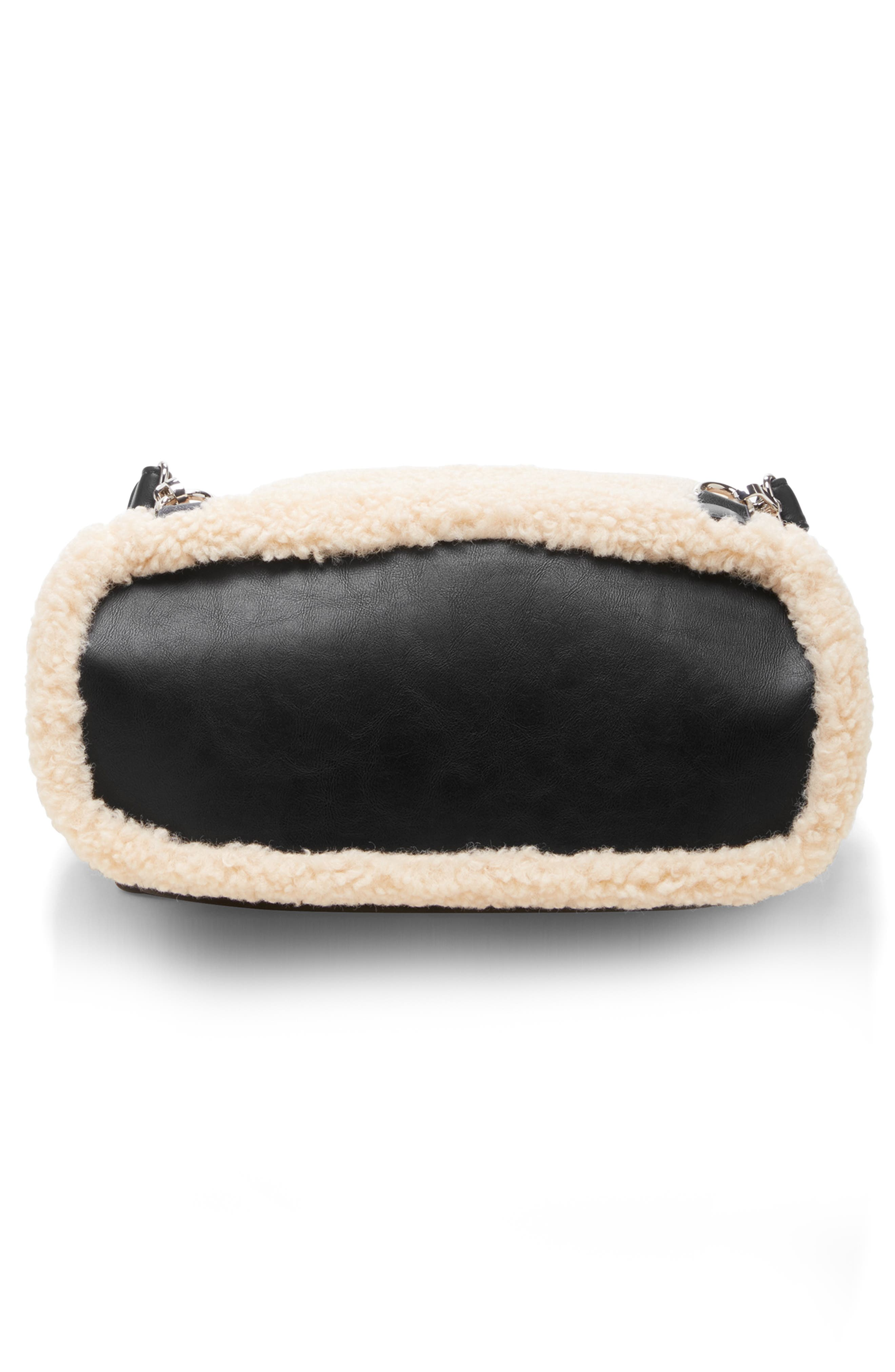 Drury Faux Shearling & Faux Leather Backpack,                             Alternate thumbnail 5, color,                             BLACK COMBO