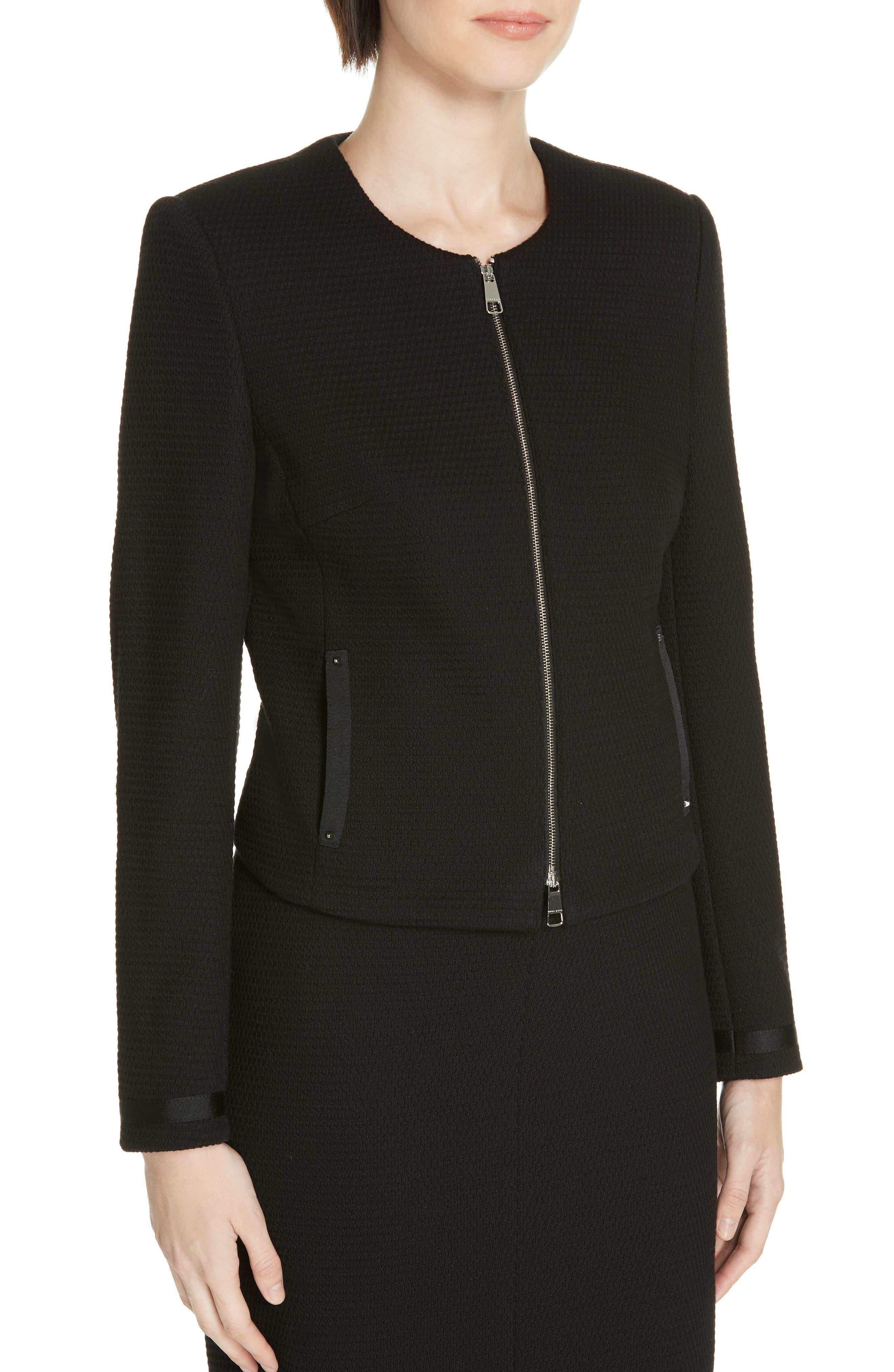 Kemio Textured Jersey Suit Jacket,                             Alternate thumbnail 4, color,                             BLACK