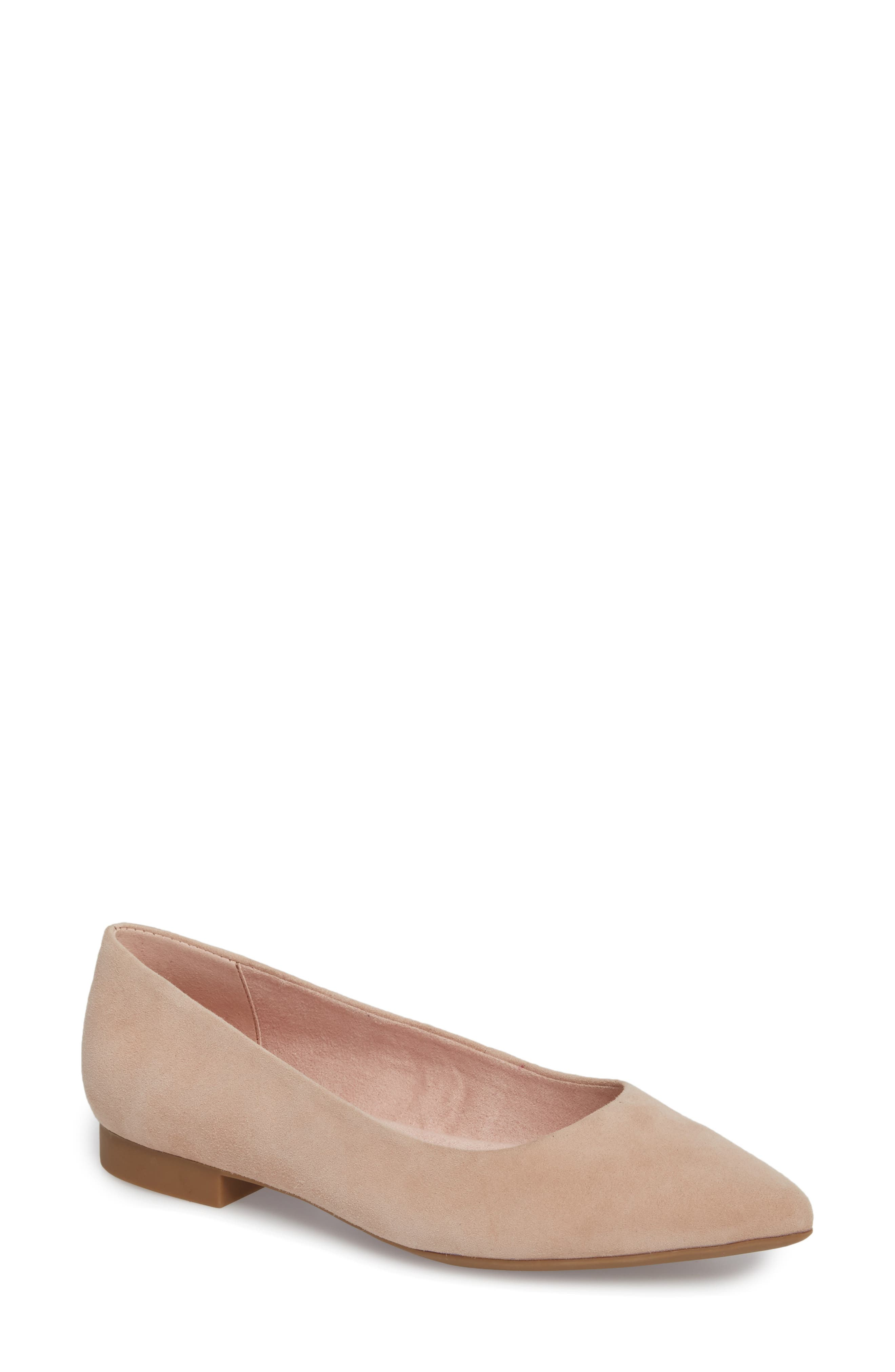 'Vivien' Pointy Toe Flat,                             Main thumbnail 1, color,                             BLUSH SUEDE