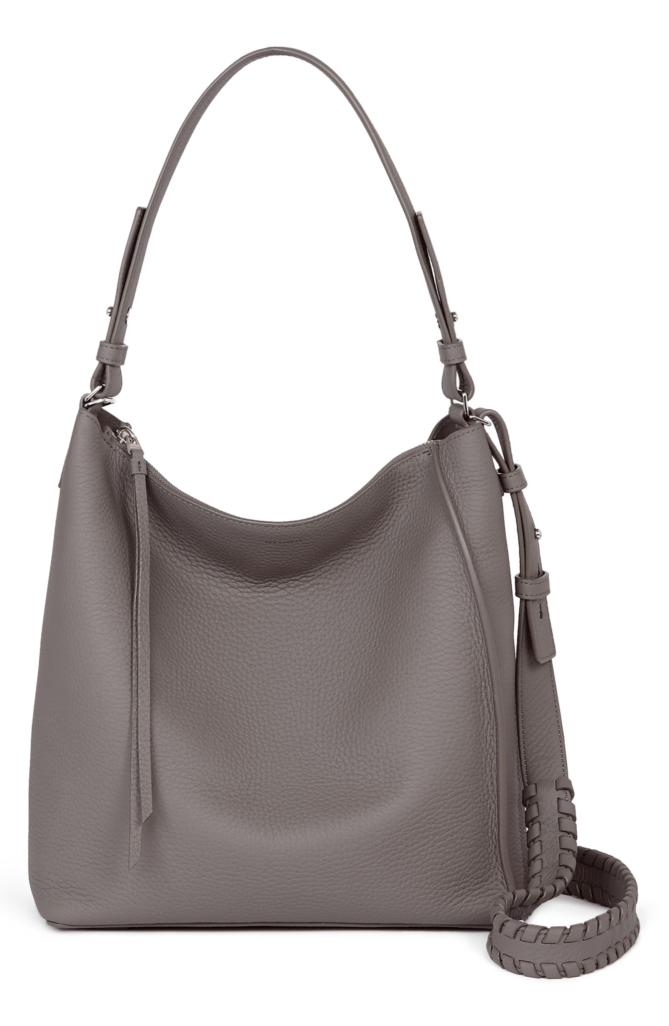 ALLSAINTS 'Kita' Leather Shoulder/Crossbody Bag - Grey in Storm Grey