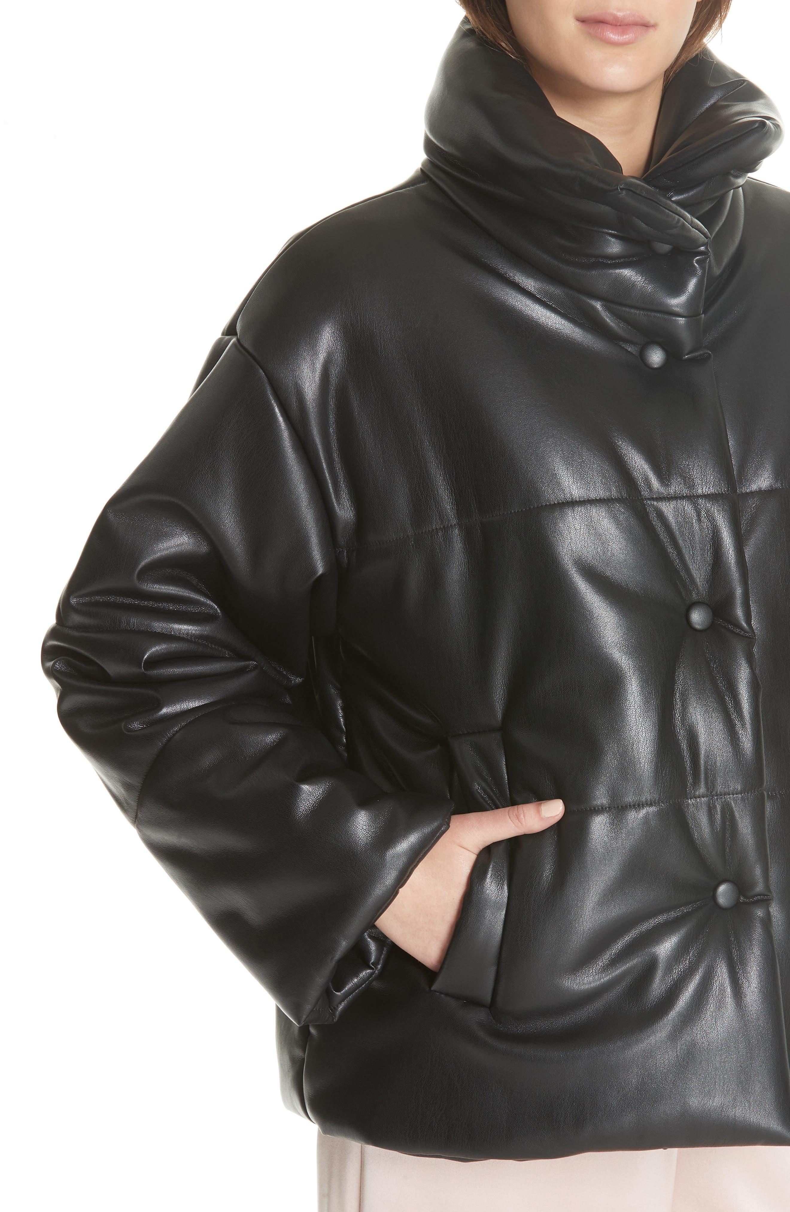 Hide Faux Leather Puffer Jacket,                             Alternate thumbnail 4, color,                             BLACK