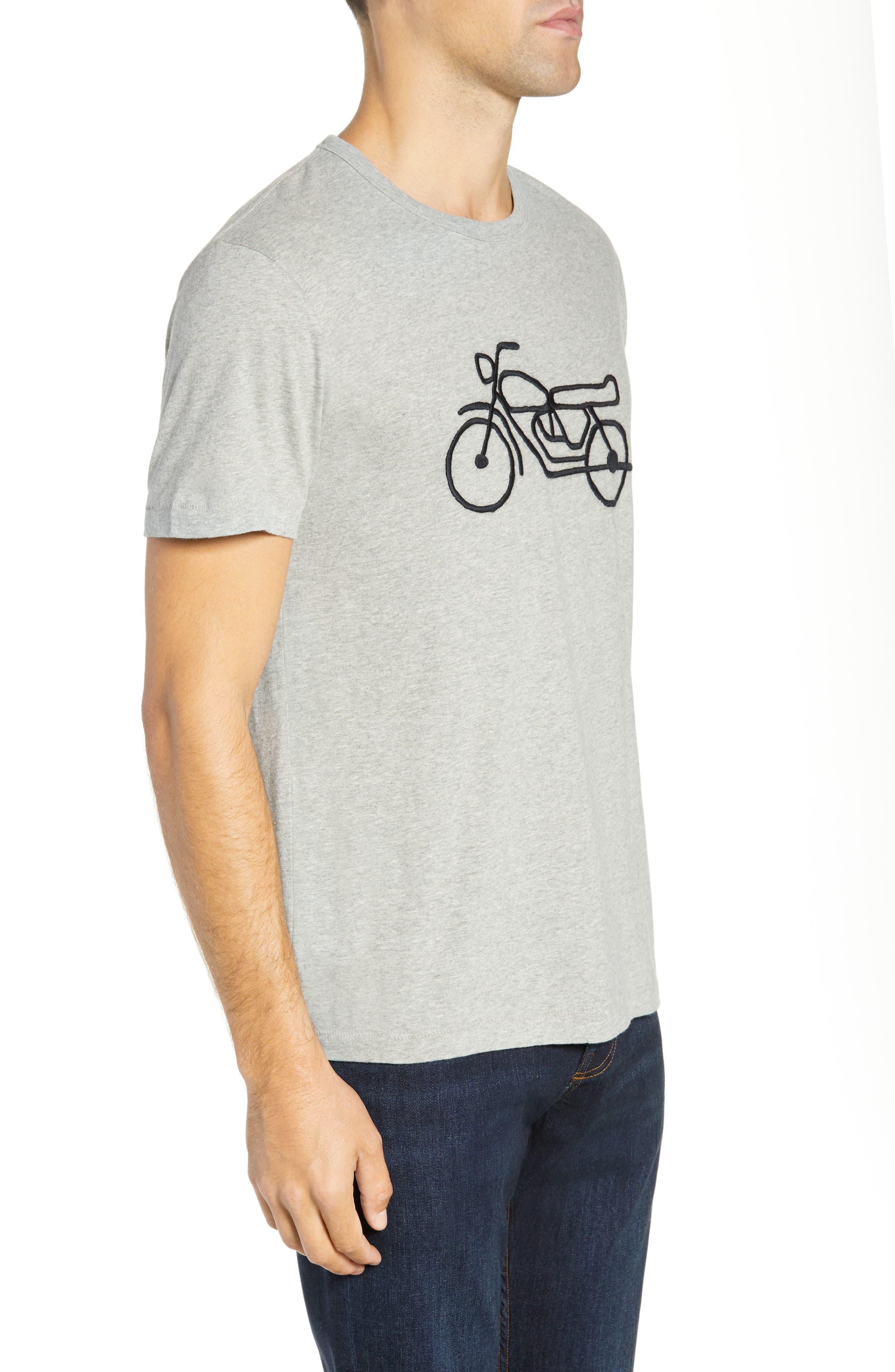 Motorcycle Regular Fit Cotton T-Shirt,                             Alternate thumbnail 3, color,                             GREY MELANGE BLACK