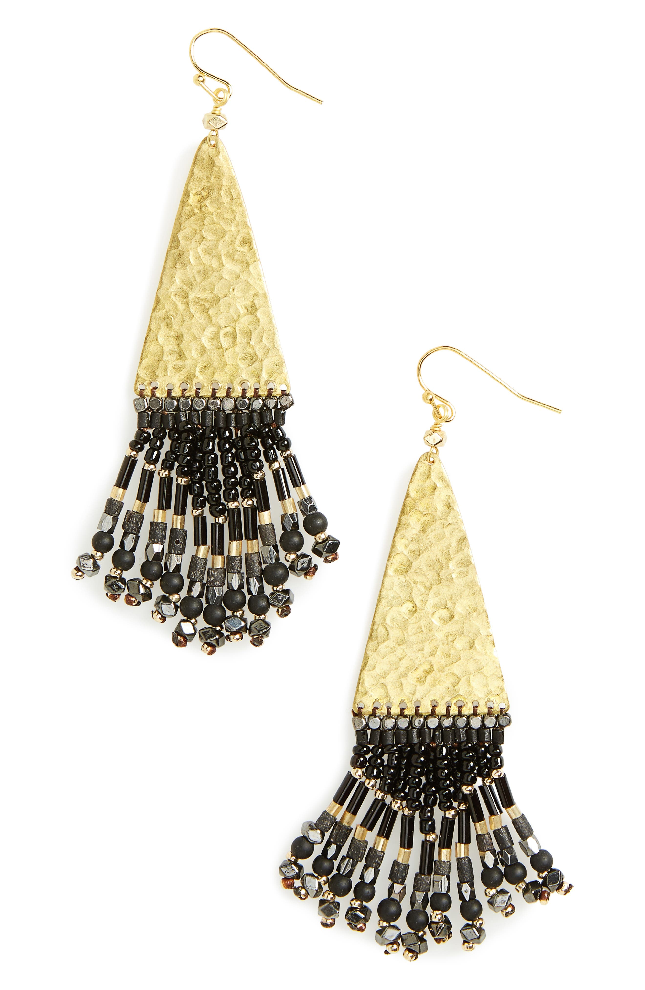 Hammered Fringe Drop Earrings, Main, color, 001