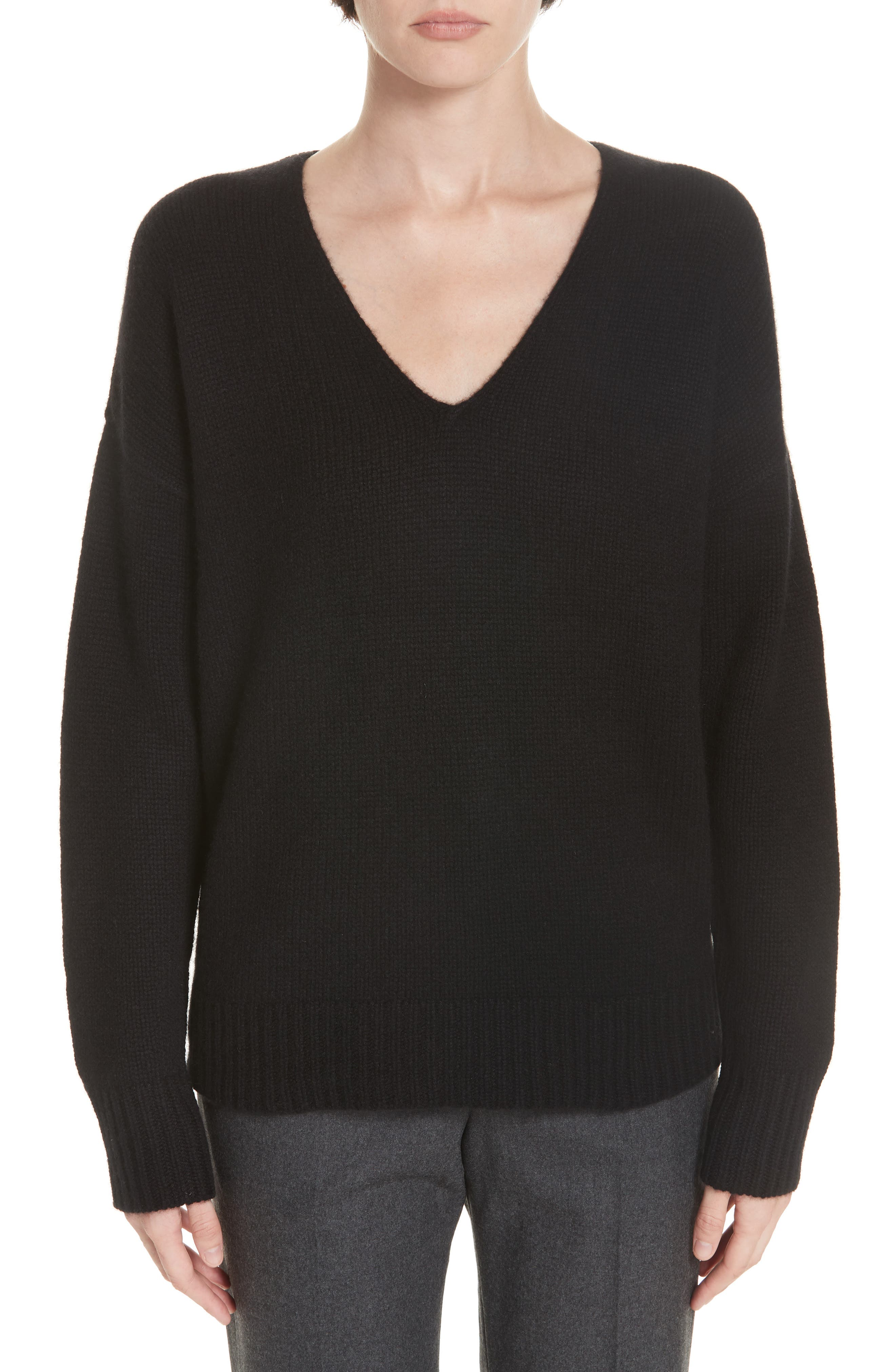 Relaxed Cashmere Sweater,                             Main thumbnail 1, color,                             BLACK