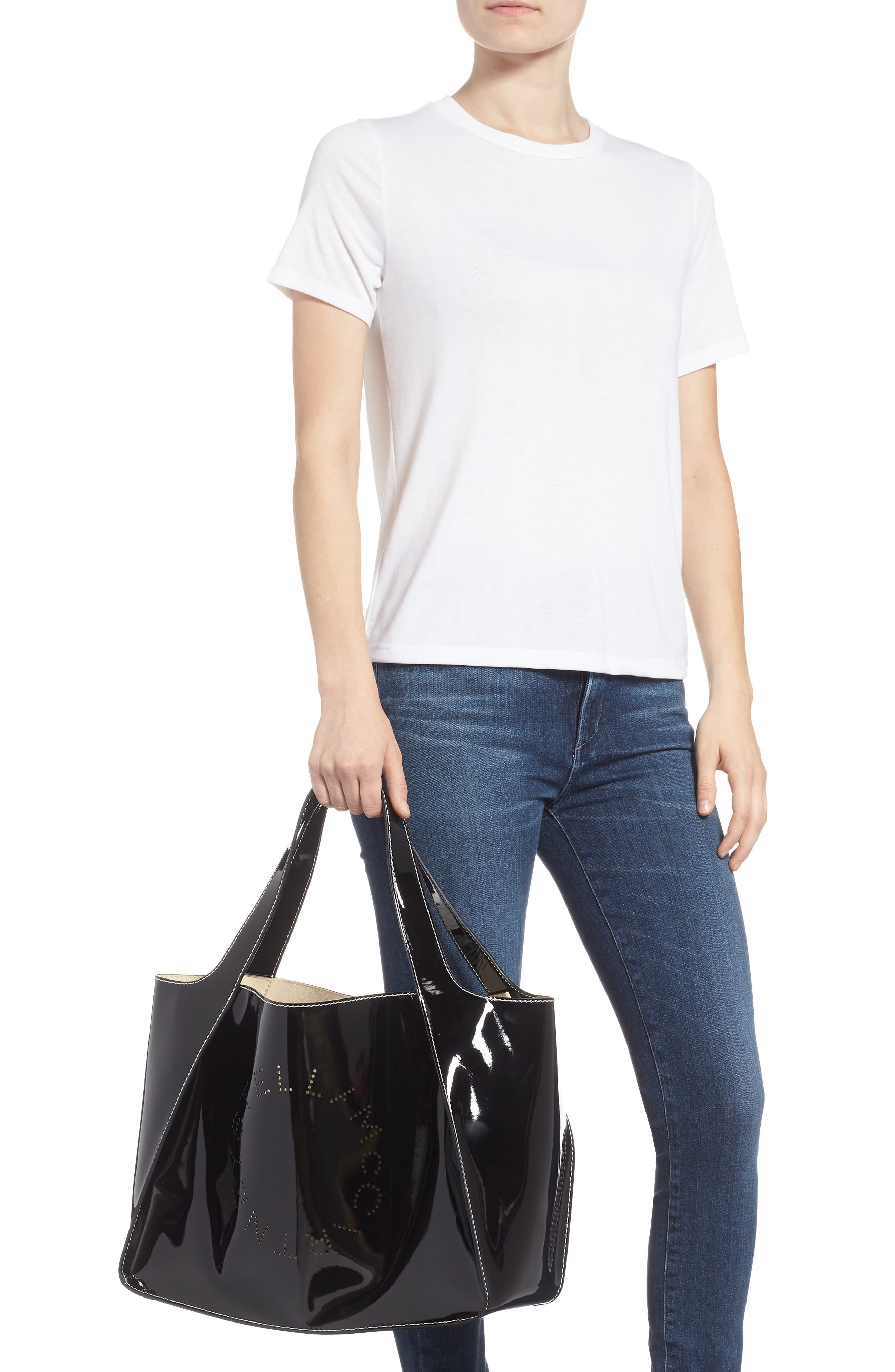 Small Logo Faux Leather Tote,                             Alternate thumbnail 2, color,                             001
