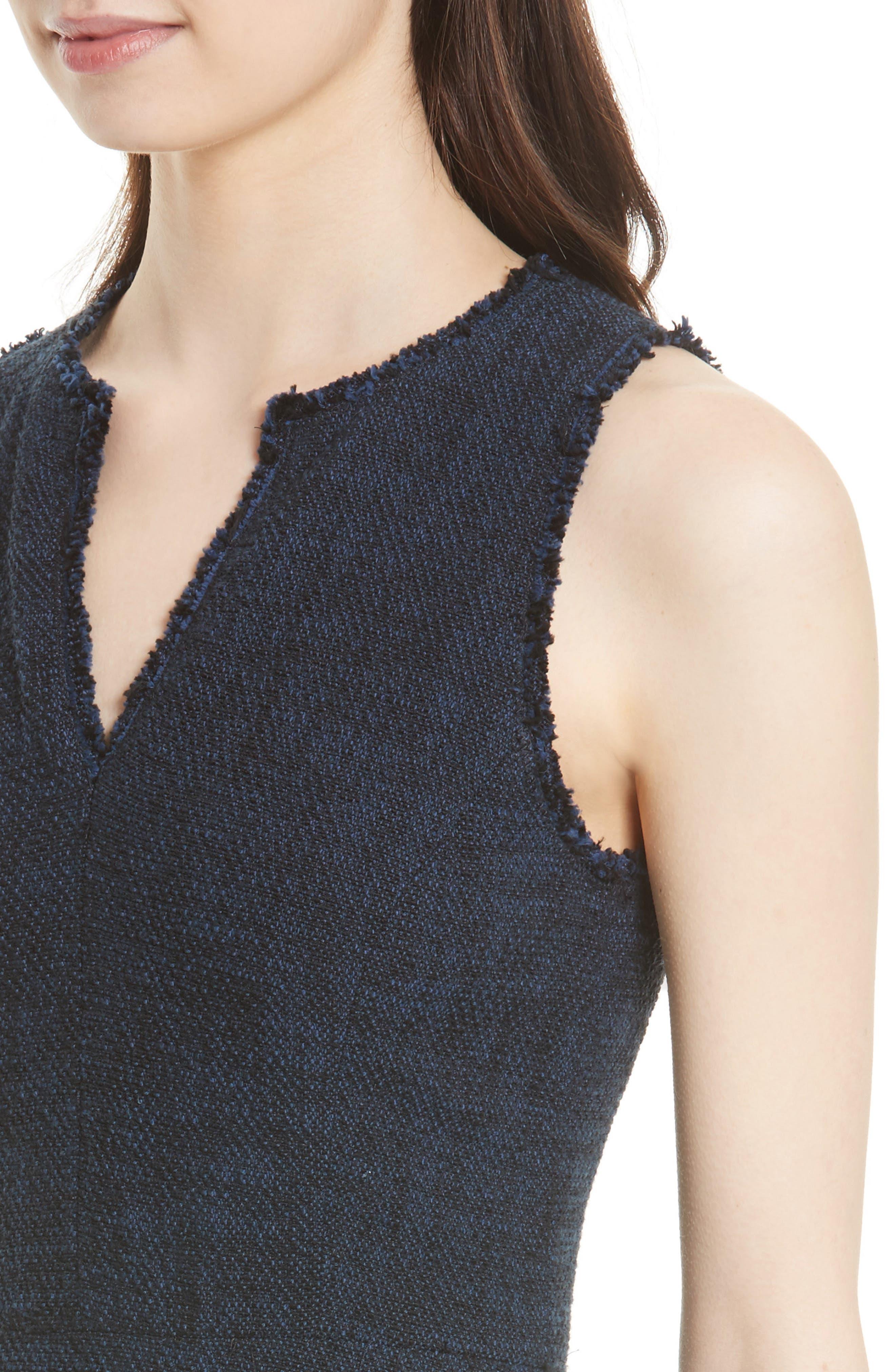 Ruffle Hem Tweed Dress,                             Alternate thumbnail 4, color,                             491