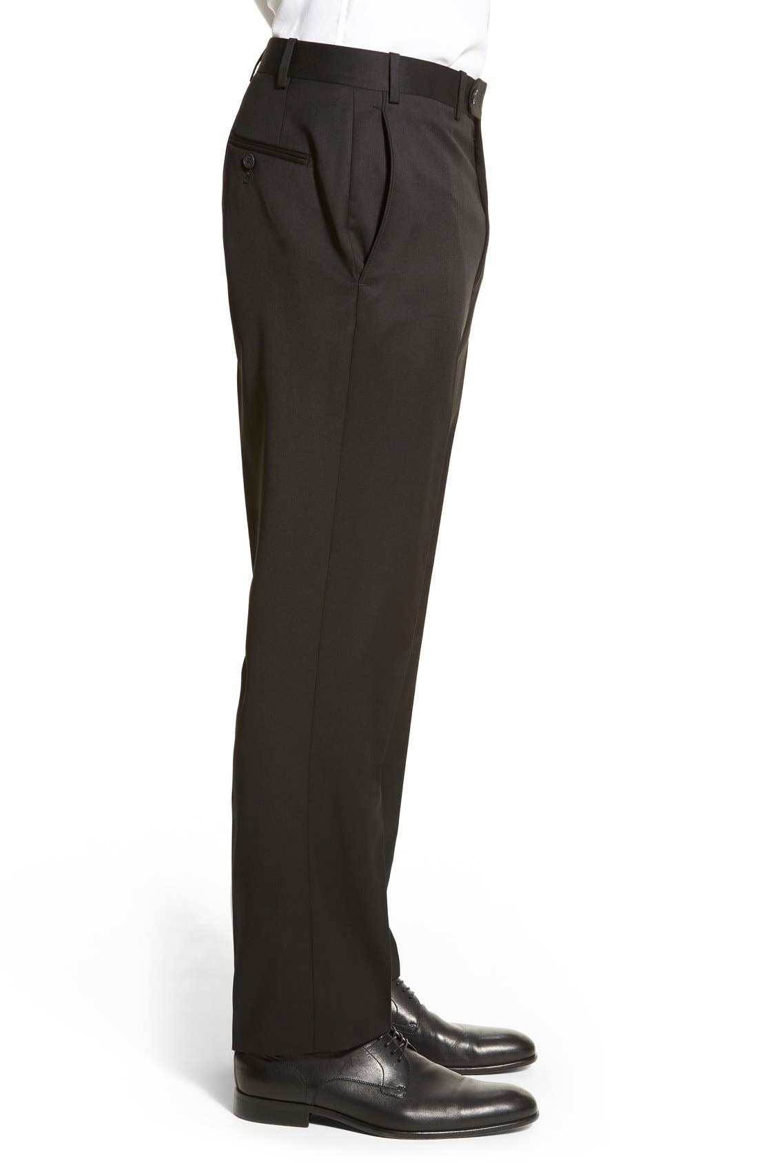 DI MILANO UOMO,                             'Torino' Flat Front Solid Wool Trousers,                             Alternate thumbnail 3, color,                             001