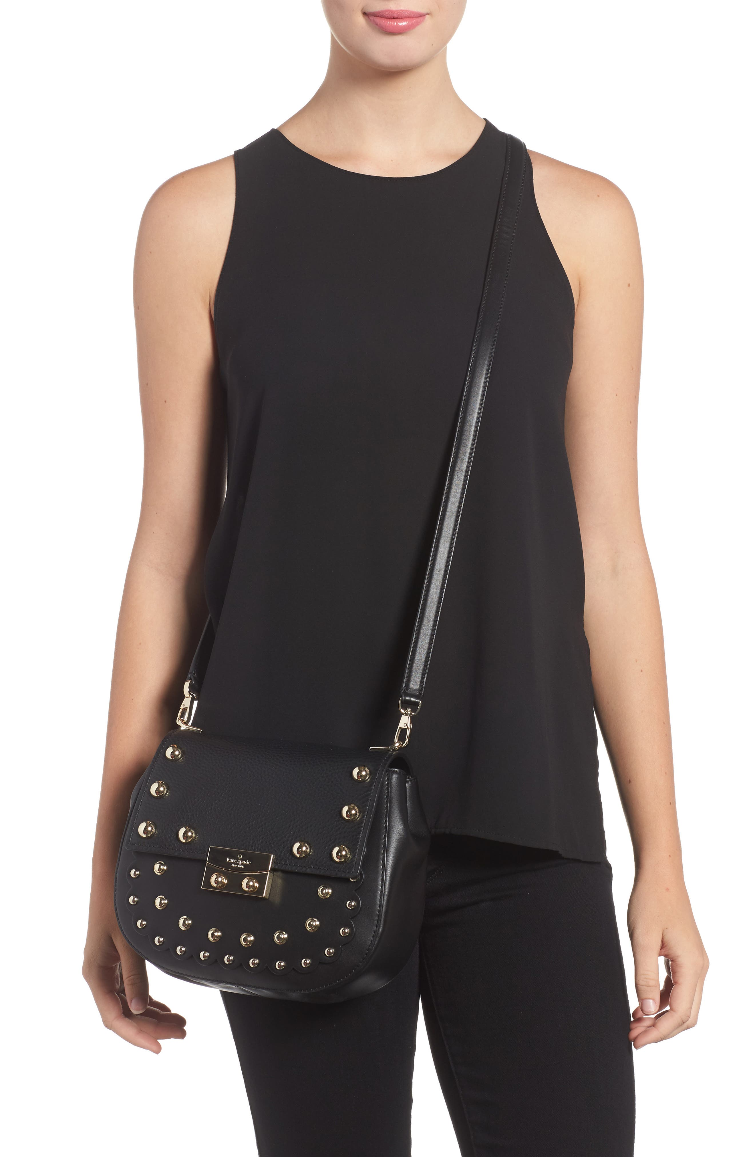 madison stewart street - byrdie studded leather crossbody bag,                             Alternate thumbnail 2, color,                             001
