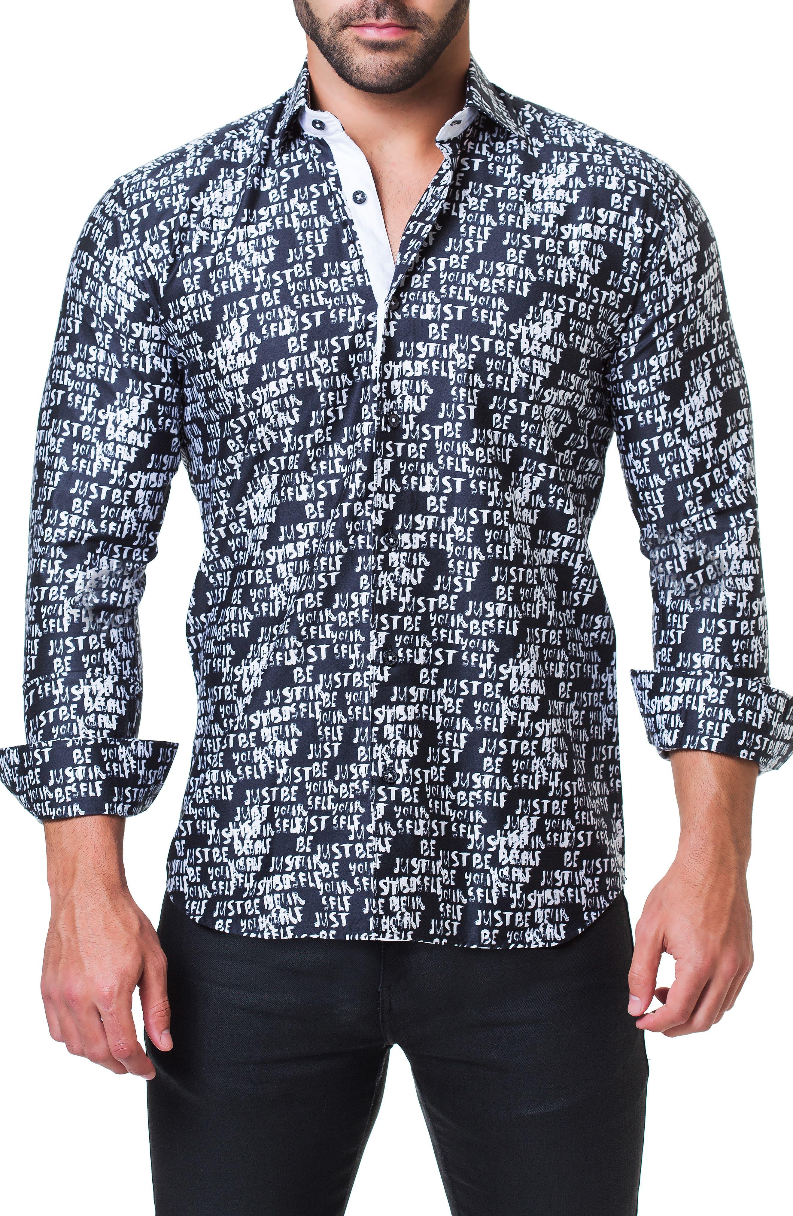 Fibonacci Just Be Yourself Print Sport Shirt,                             Alternate thumbnail 3, color,                             BLACK