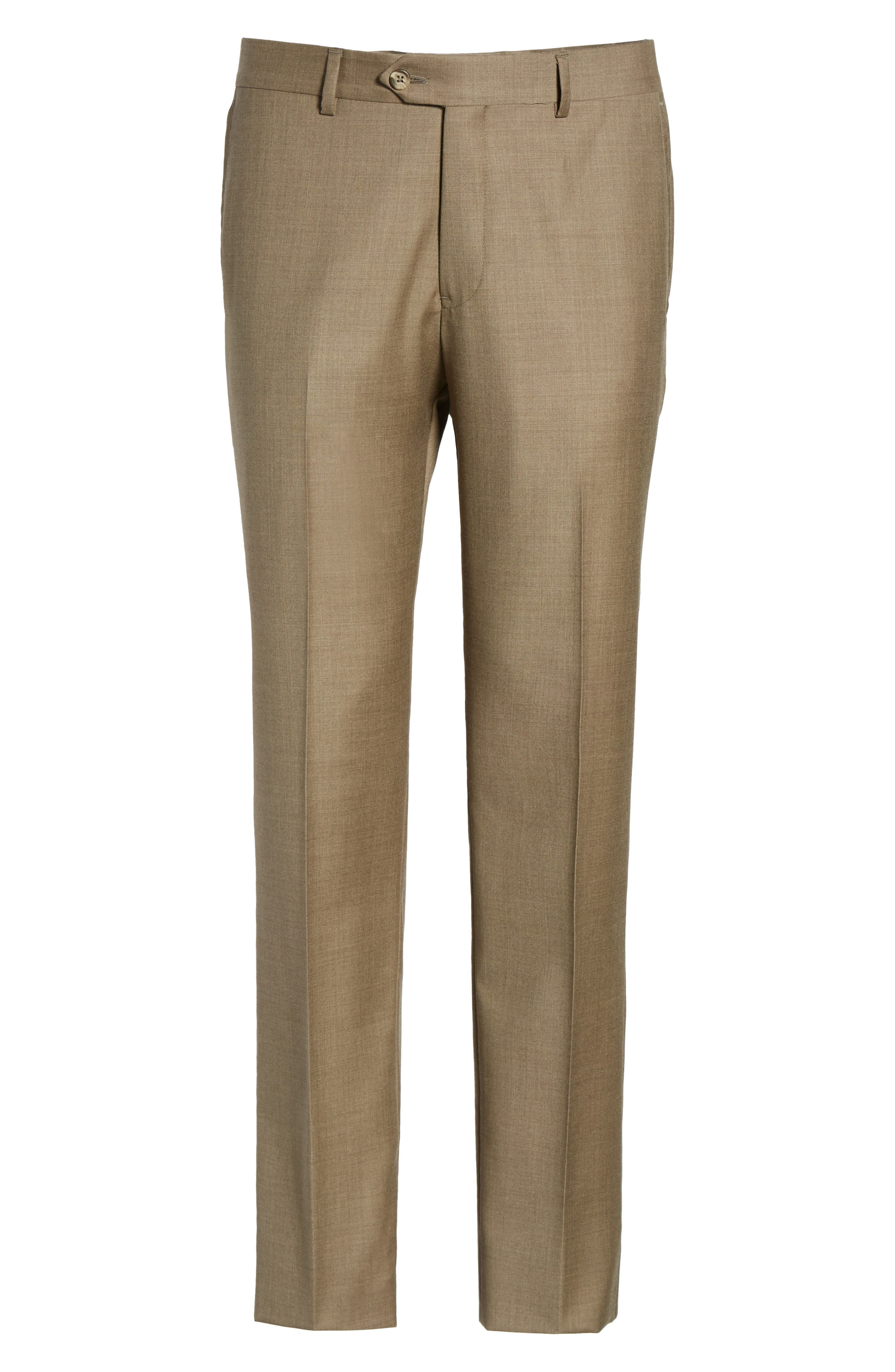 Flat Front Solid Wool Trousers,                             Alternate thumbnail 33, color,