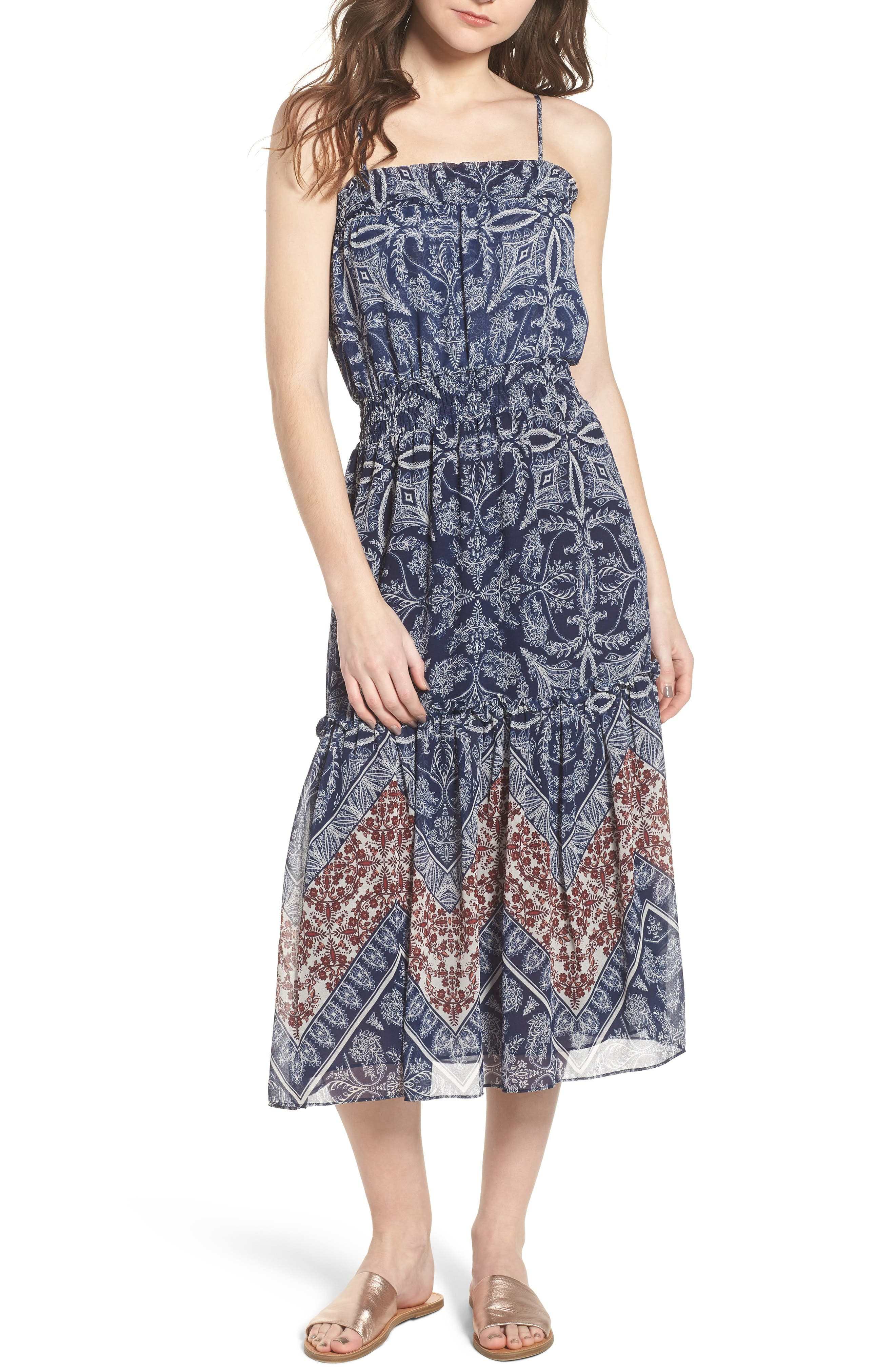 Adel Print Midi Dress,                             Main thumbnail 1, color,                             400