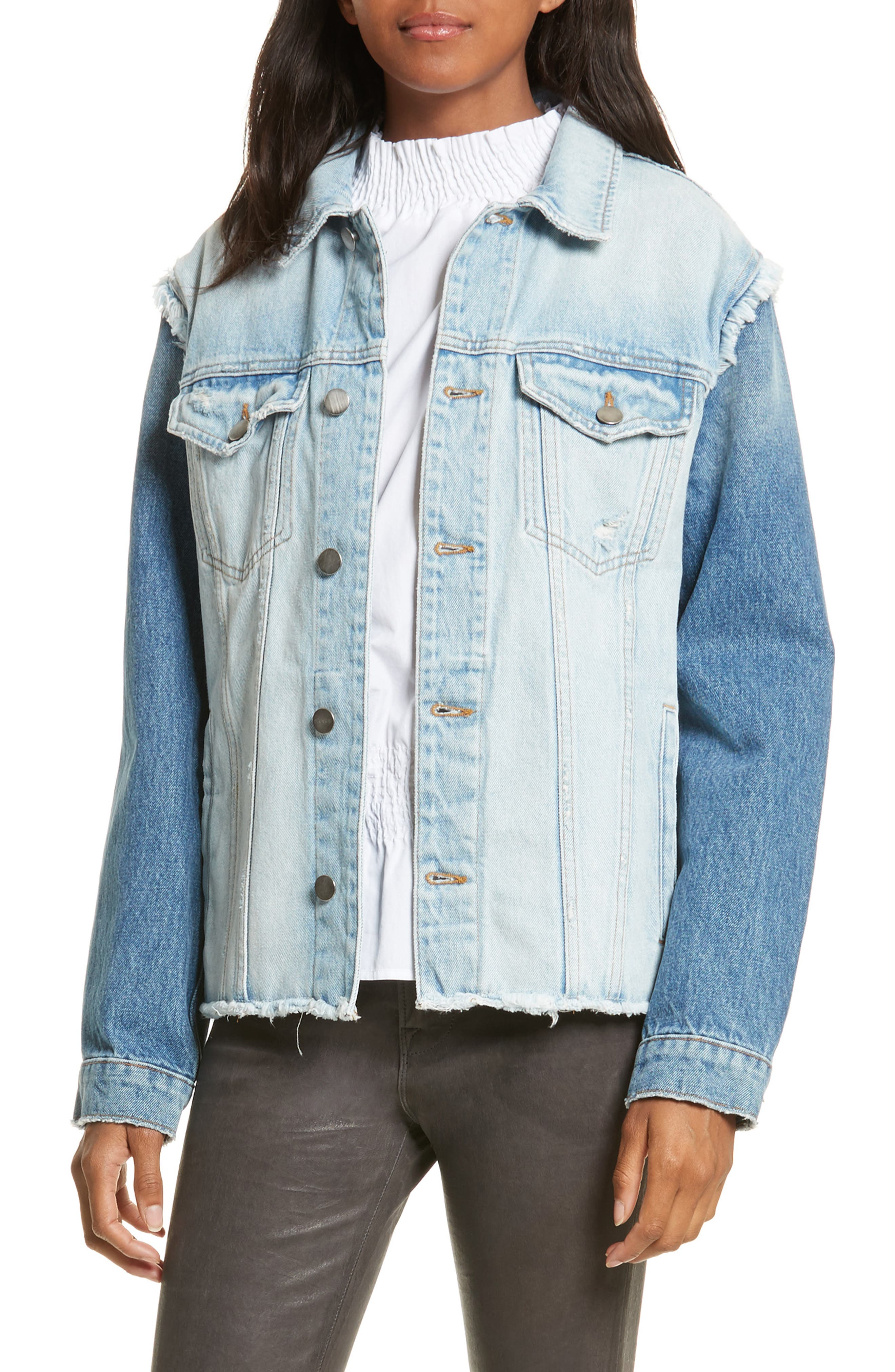 Le Reconstructed Denim Jacket,                             Main thumbnail 1, color,                             451