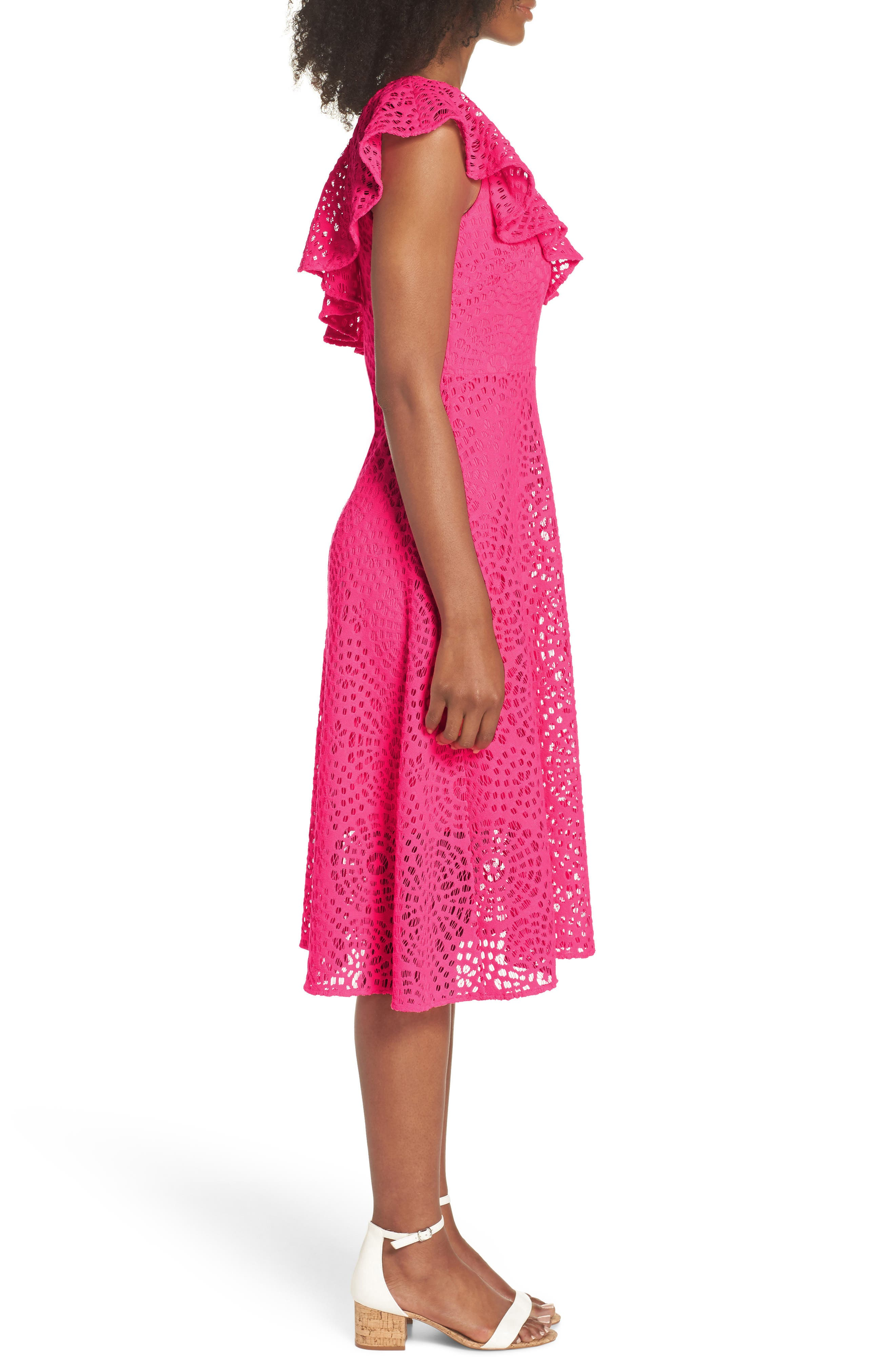 Callisto Ruffle One-Shoulder Midi Dress,                             Alternate thumbnail 3, color,                             PINK SEA URCHIN TERRY LACE