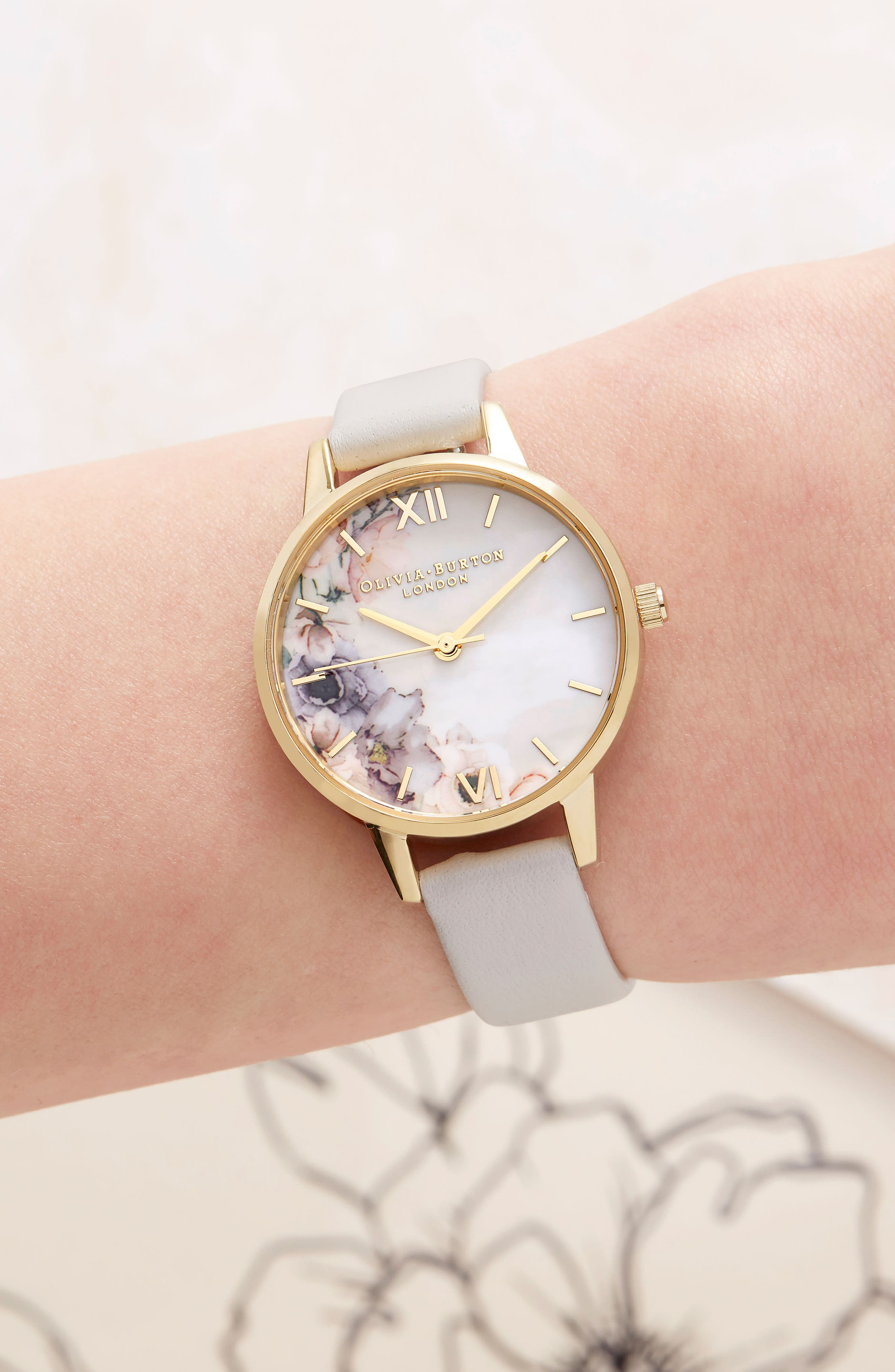 Watercolor Floral Leather Strap Watch, 30mm,                             Alternate thumbnail 6, color,                             BLUSH/ WHITE FLORAL/ GOLD