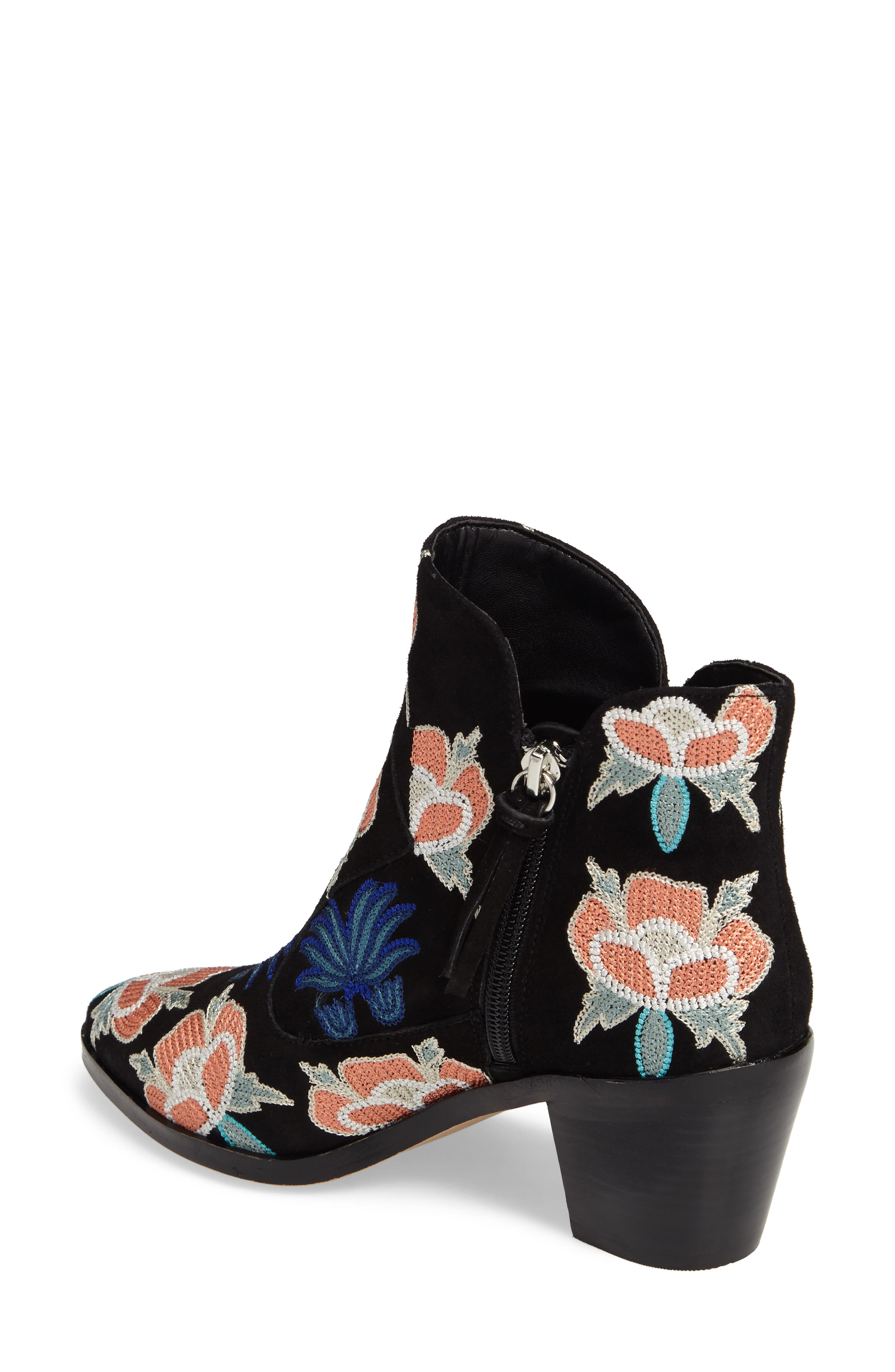 Lulu Too Flower Embroidered Bootie,                             Alternate thumbnail 2, color,                             004