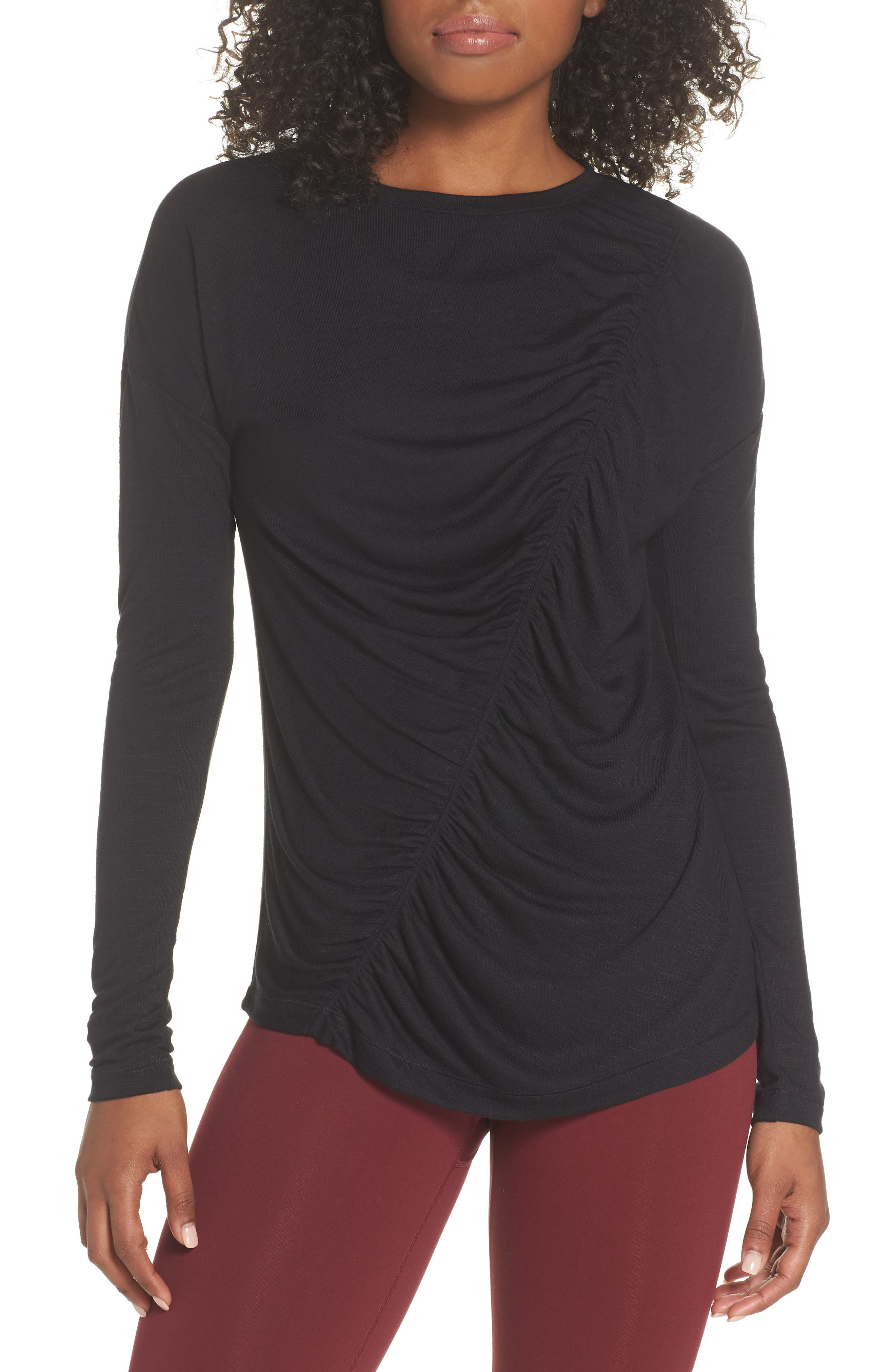 So Graceful Ruched Tee,                         Main,                         color, BLACK