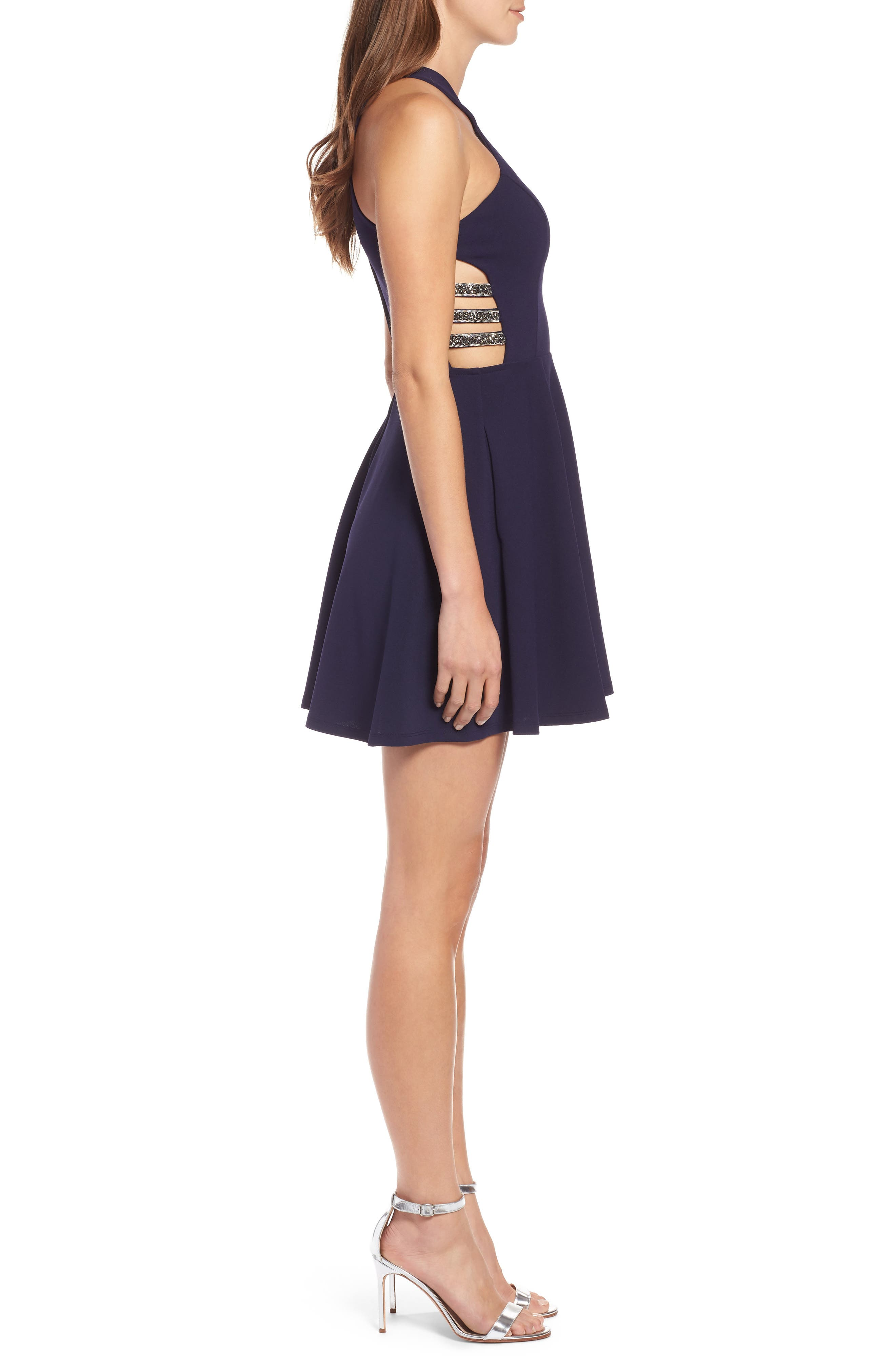 SPEECHLESS,                             Side Cutout Fit & Flare Dress,                             Alternate thumbnail 3, color,                             MIDNIGHT