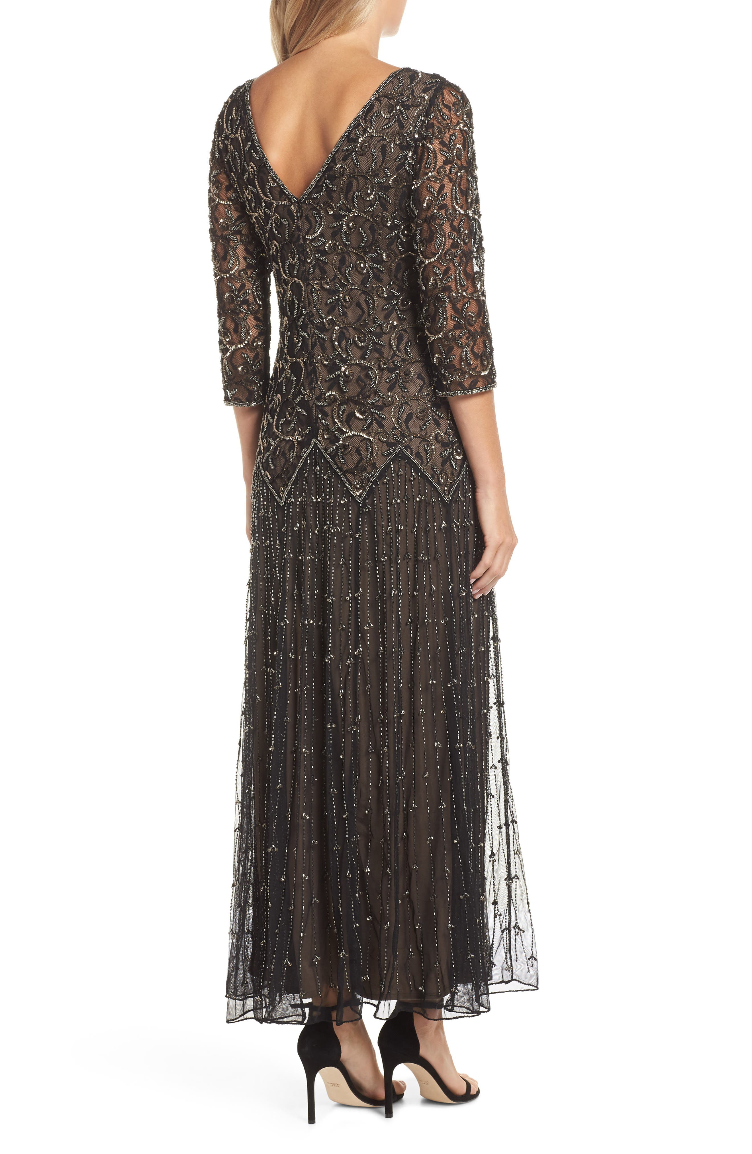 Embellished Mesh Gown,                             Alternate thumbnail 2, color,                             BLACK