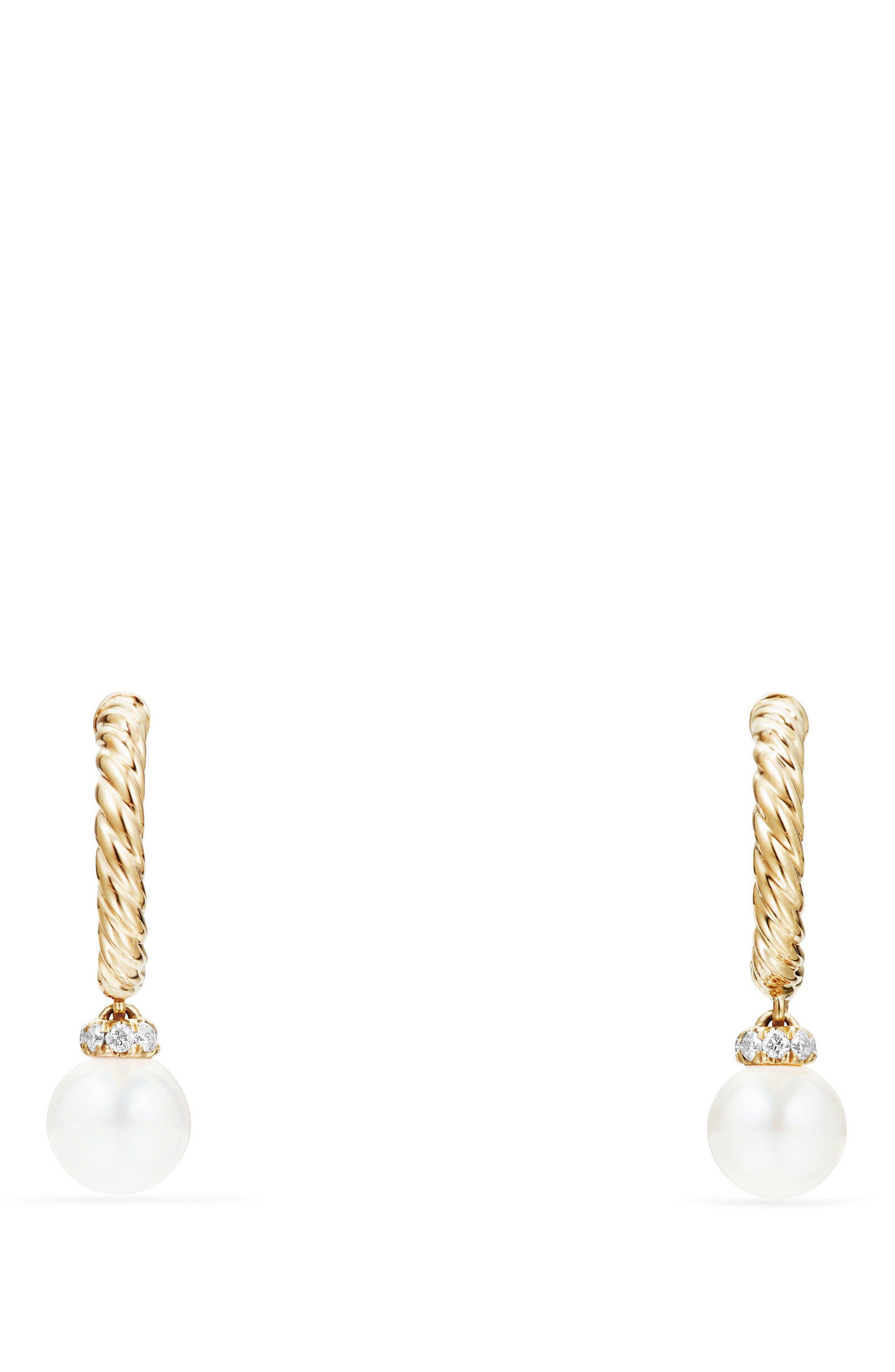 Solari Hoop Earrings with Diamonds & Pearls in 18K Gold,                             Alternate thumbnail 2, color,                             YELLOW GOLD/ DIAMOND/ PEARL
