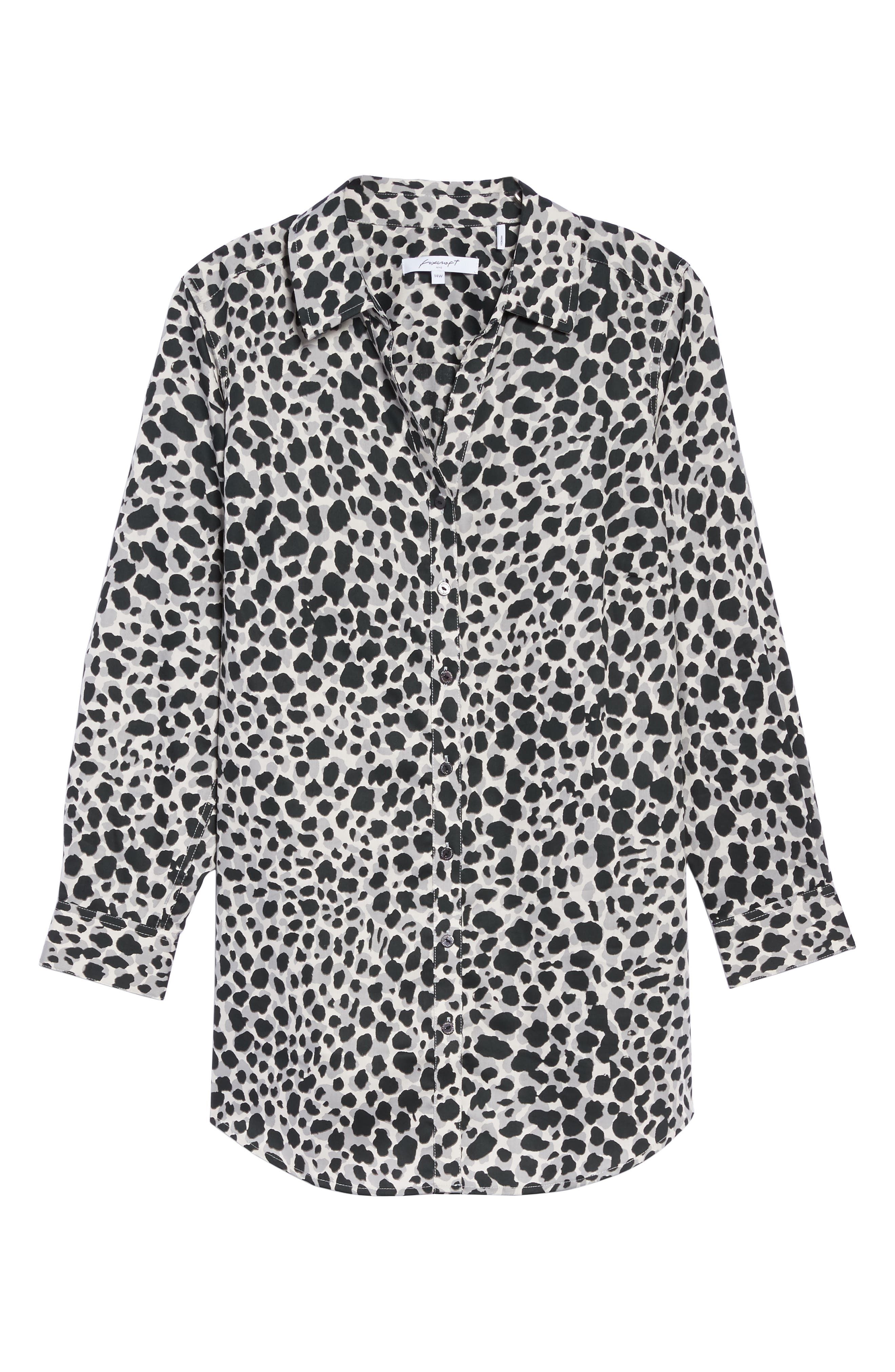 Fay Animal Print Cotton Tunic Shirt,                             Alternate thumbnail 6, color,                             050