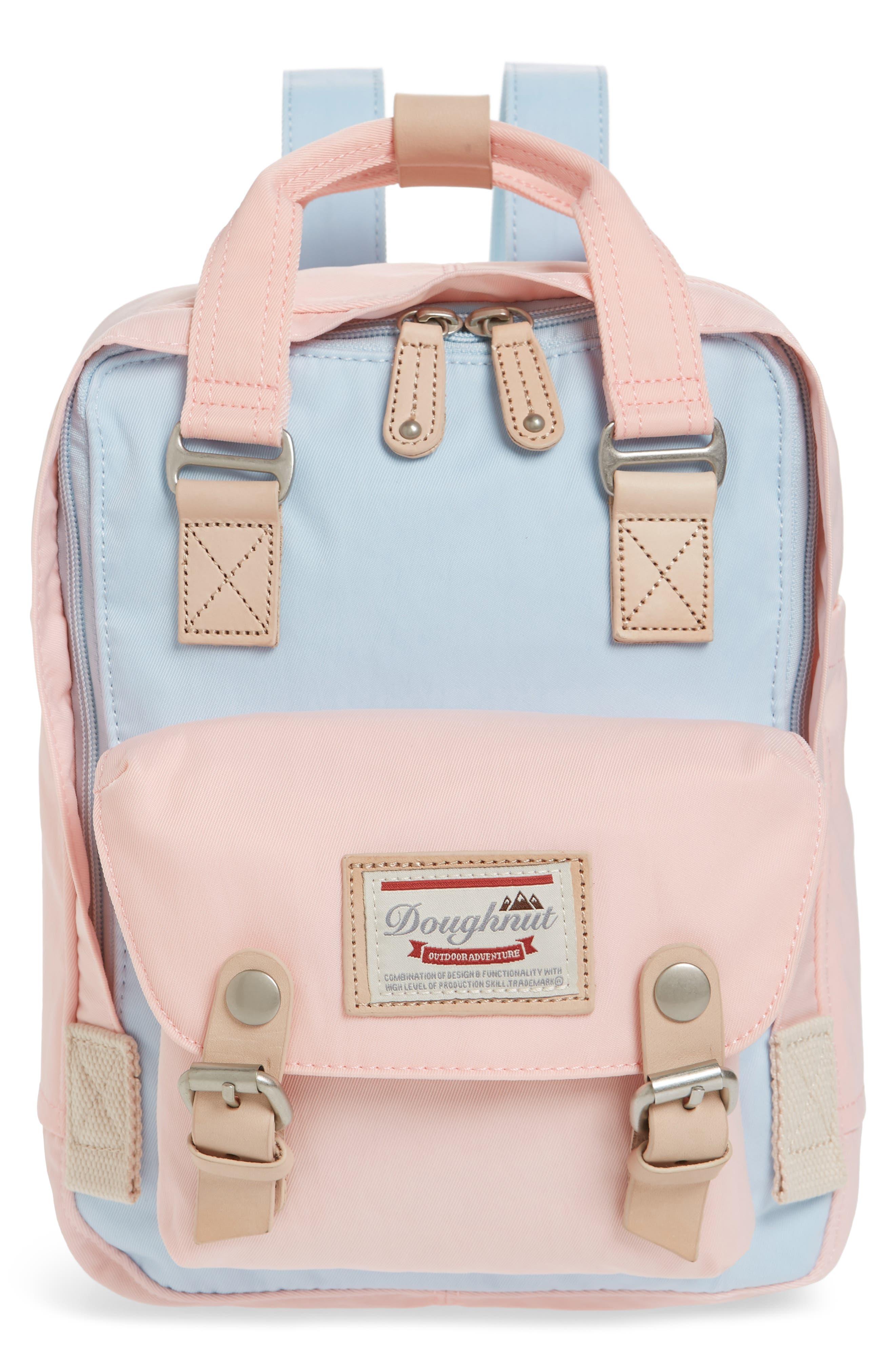 DOUGHNUT Mini Macaroon Colorblock Water Resistant Backpack - Blue in Iceberg/ Sakura