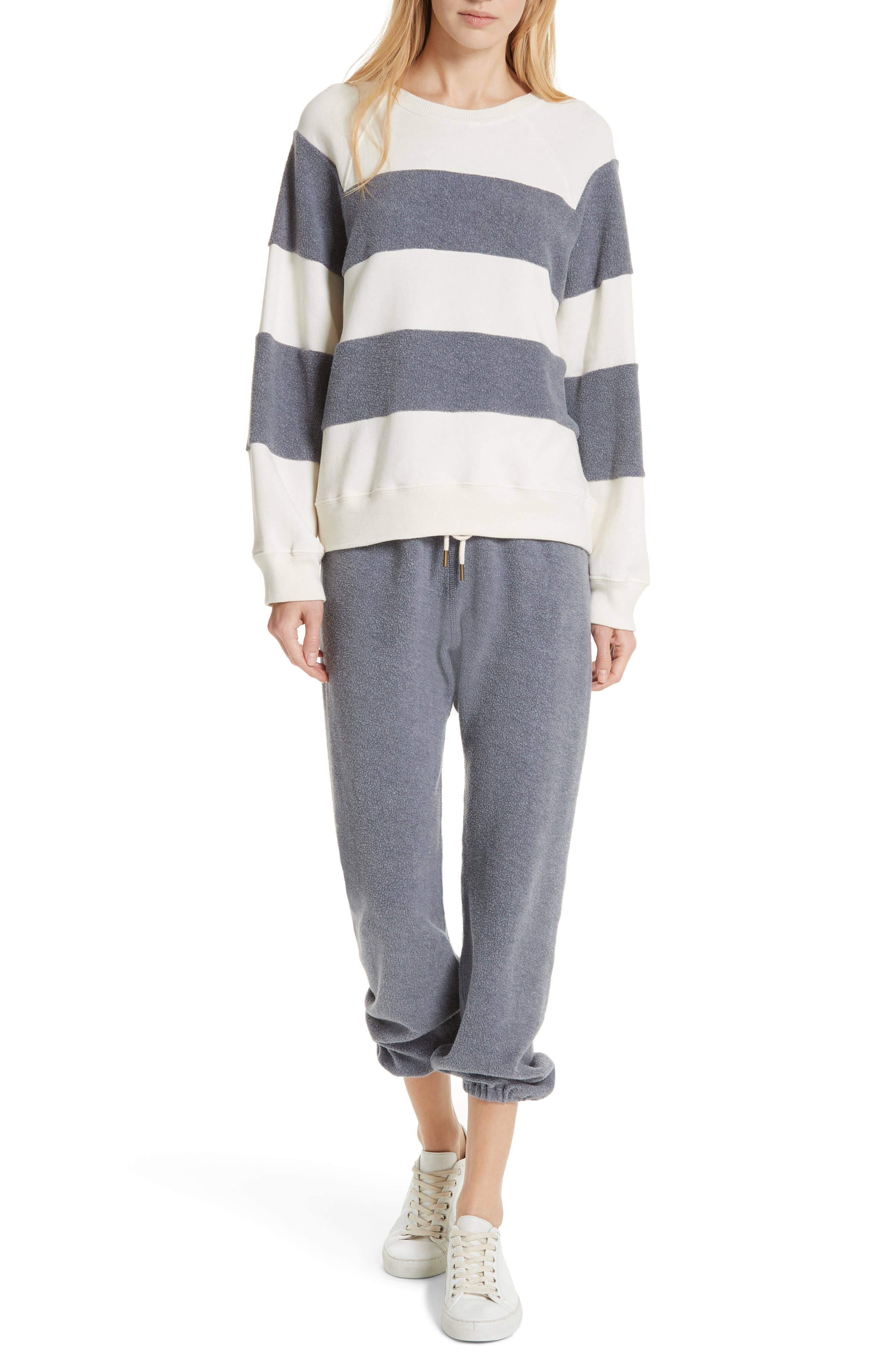 Fleece Stripe Slouch Sweatshirt,                             Alternate thumbnail 7, color,                             ENGINE BLUE AND CREAM