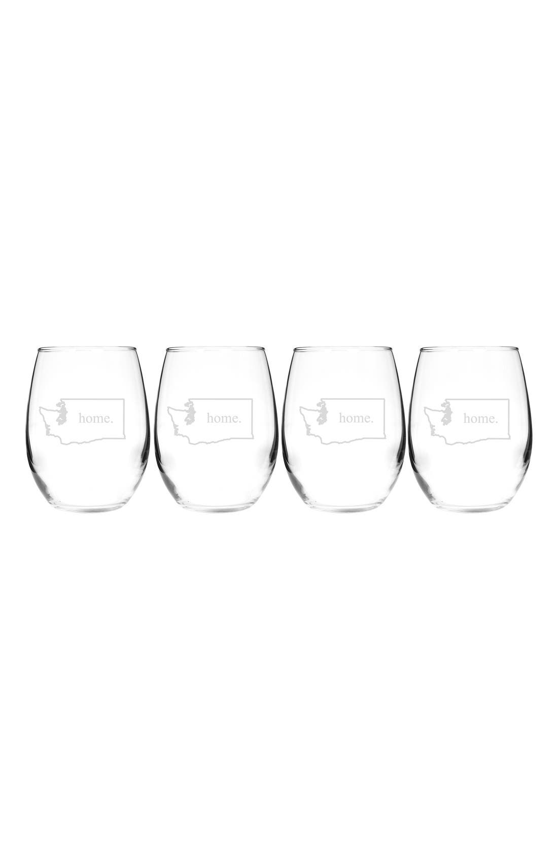 Home State Set of 4 Stemless Wine Glasses,                             Main thumbnail 47, color,