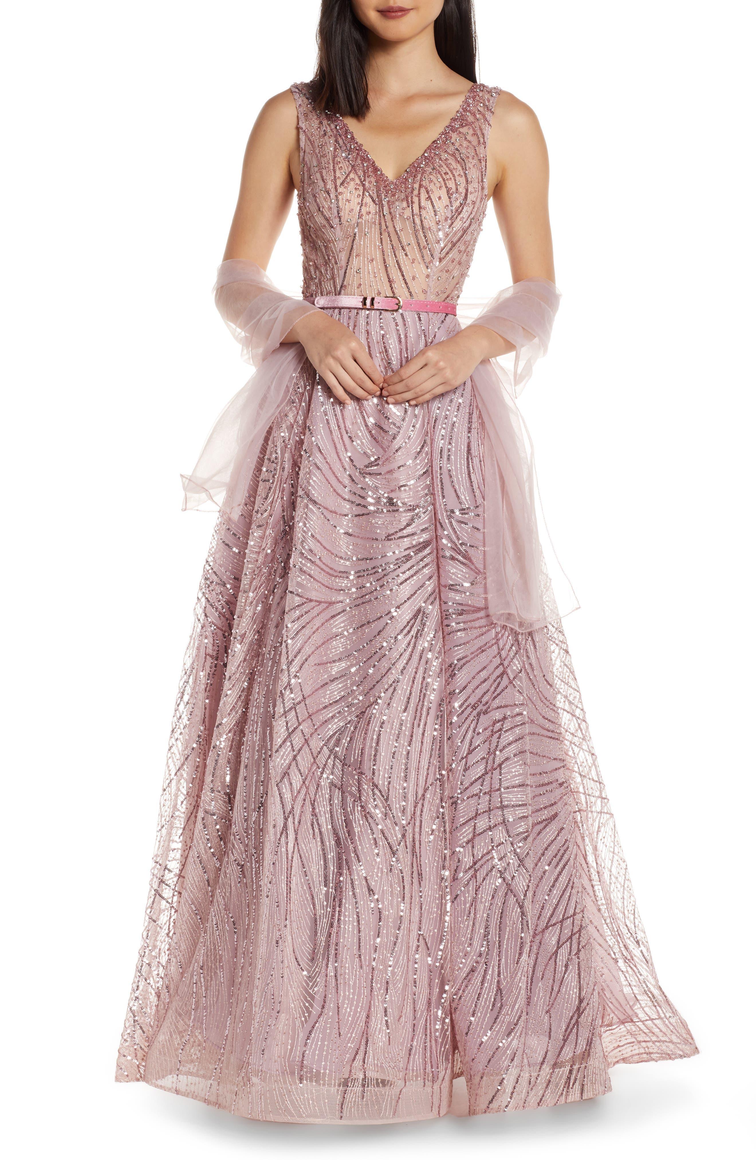 MAC Duggal Cat Tail Sequin V-Neck Prom Dress, Pink