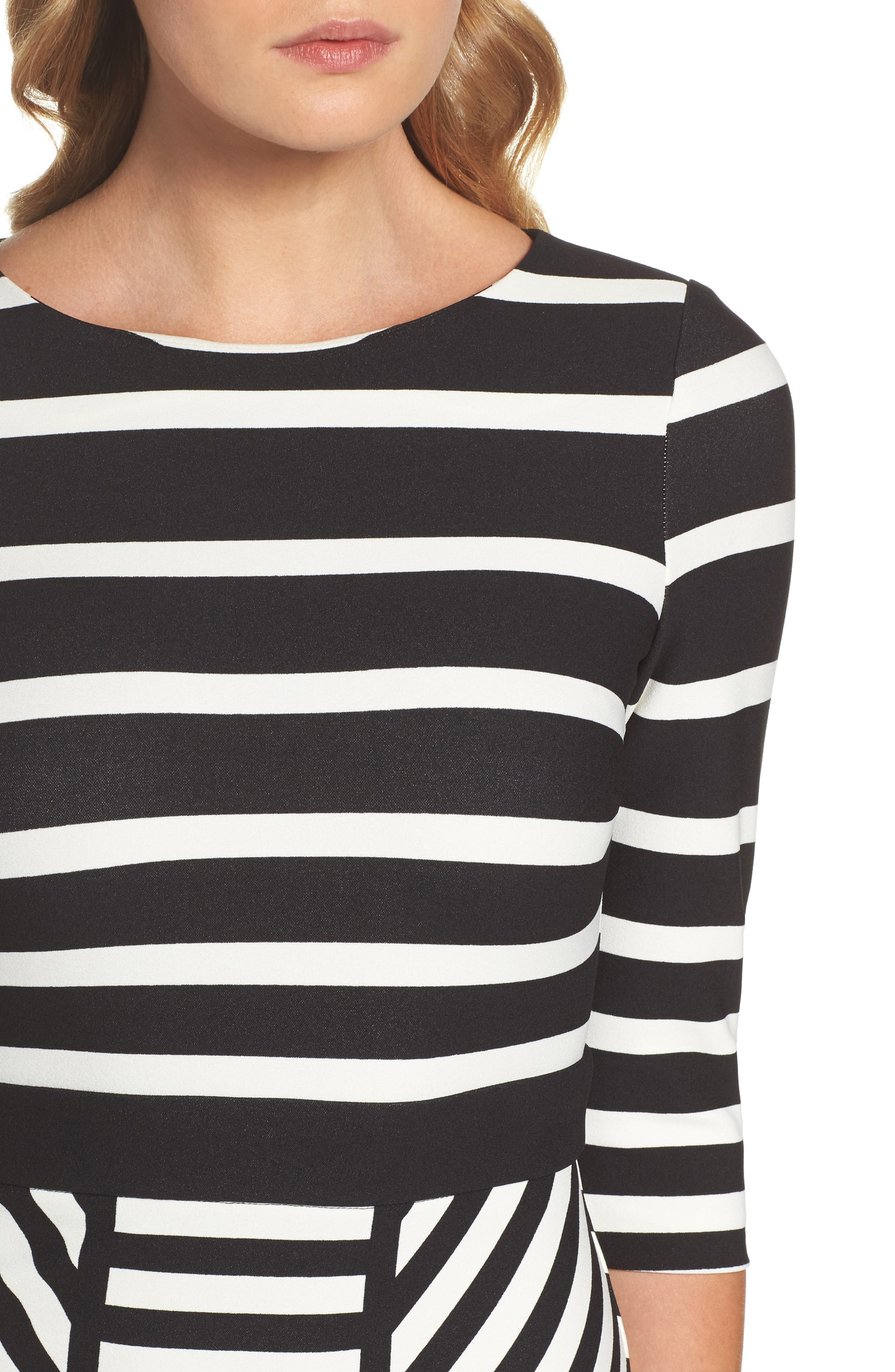 Stripe Sheath Dress,                             Alternate thumbnail 4, color,                             001