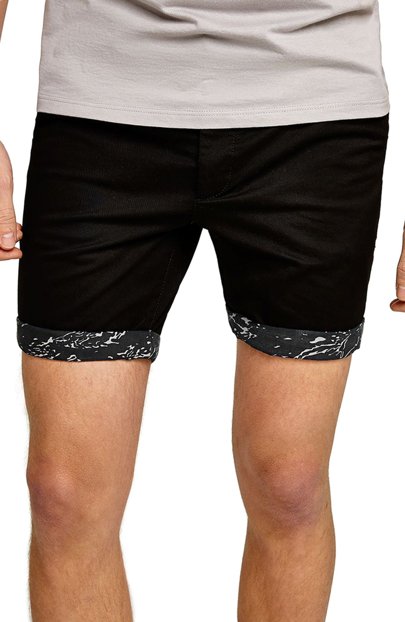 Stretch Skinny Fit Chino Shorts,                             Main thumbnail 1, color,                             BLACK MULTI