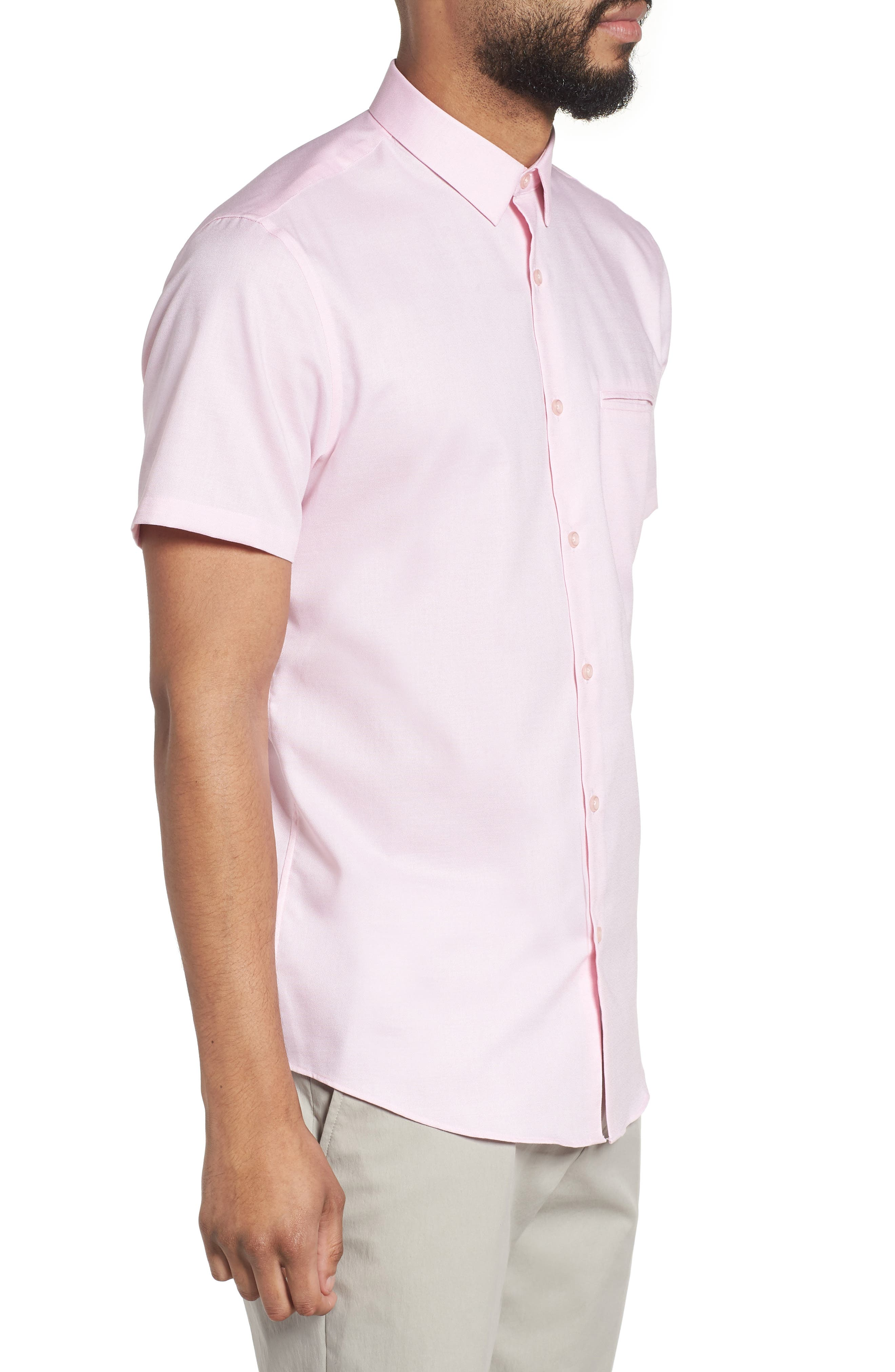 Trim Fit Jaspé Short Sleeve Sport Shirt,                             Alternate thumbnail 9, color,