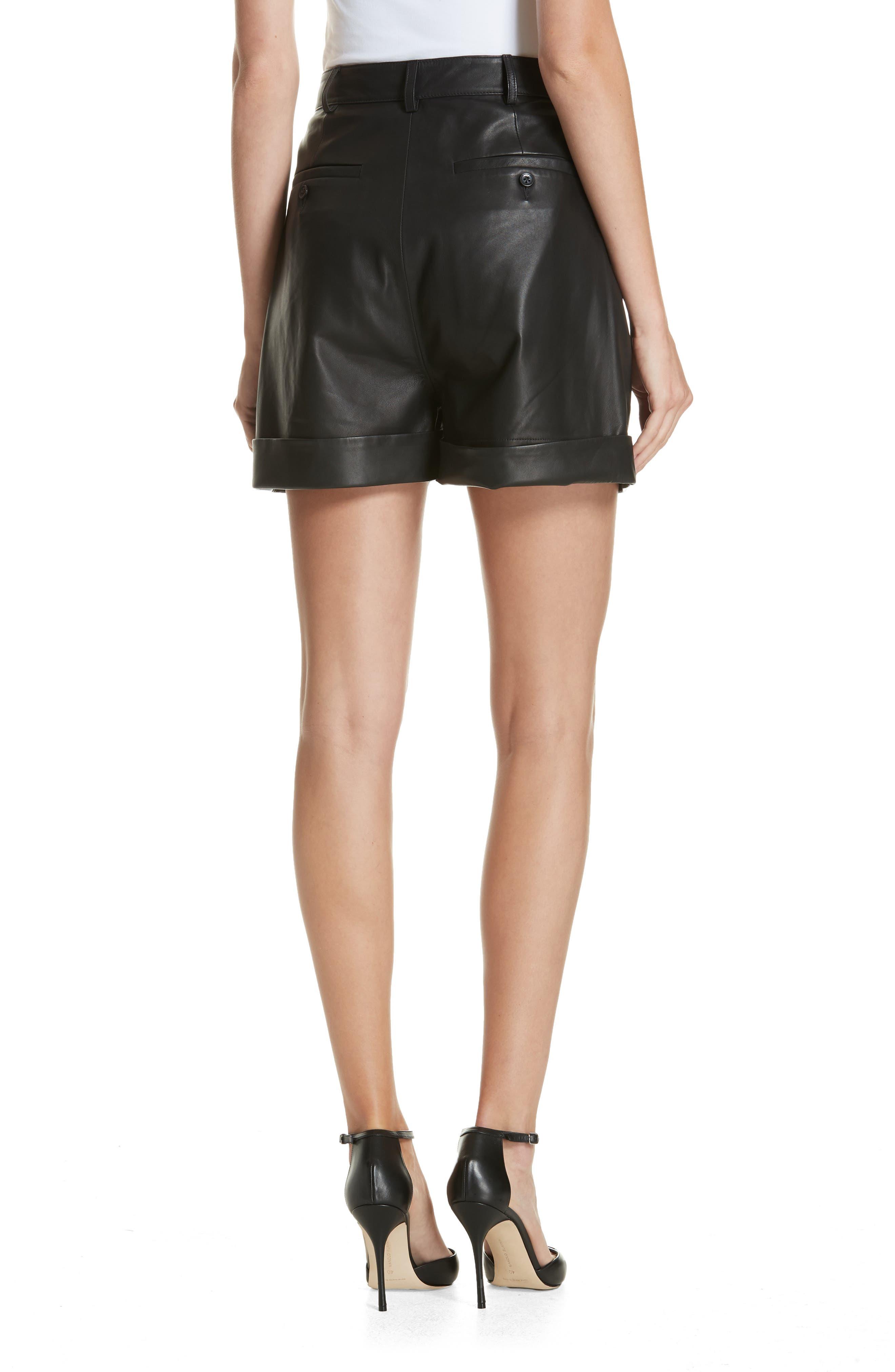 Leather Shorts,                             Alternate thumbnail 2, color,                             BLACK