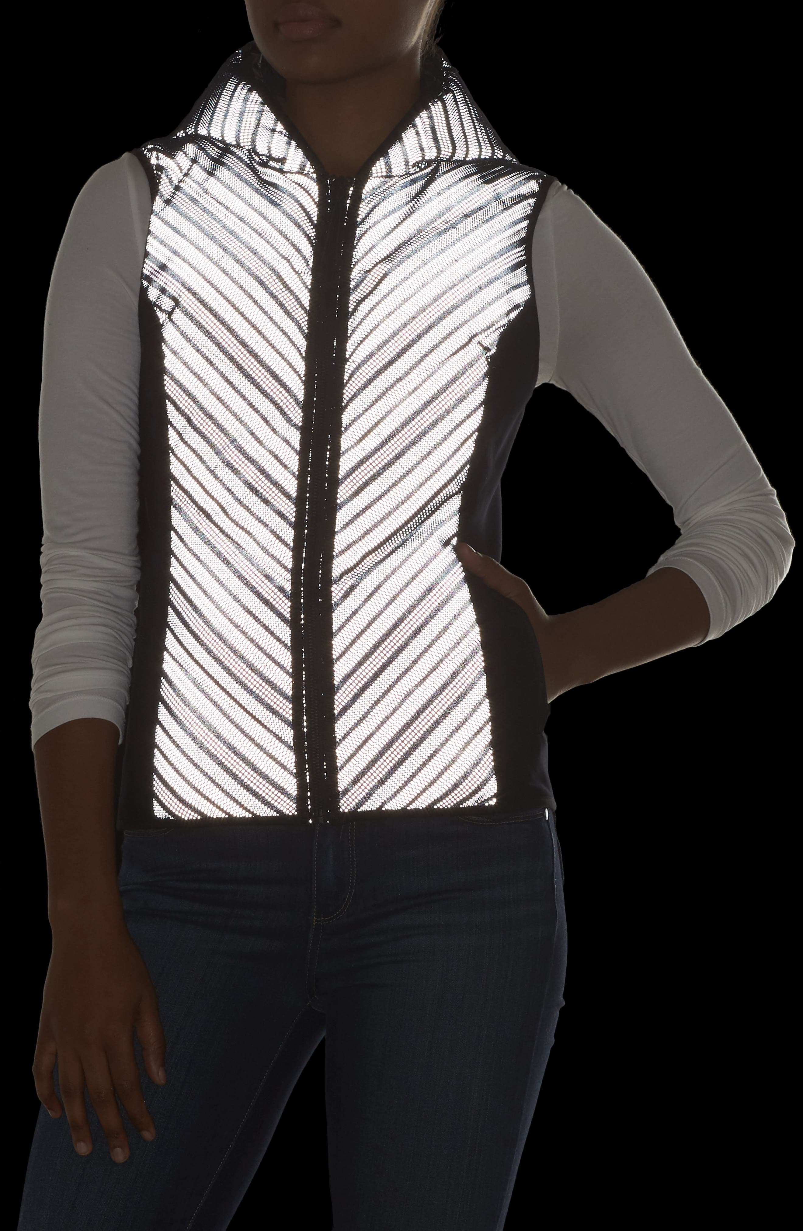 Chevron Reflective Down Vest,                             Alternate thumbnail 4, color,                             BLACK