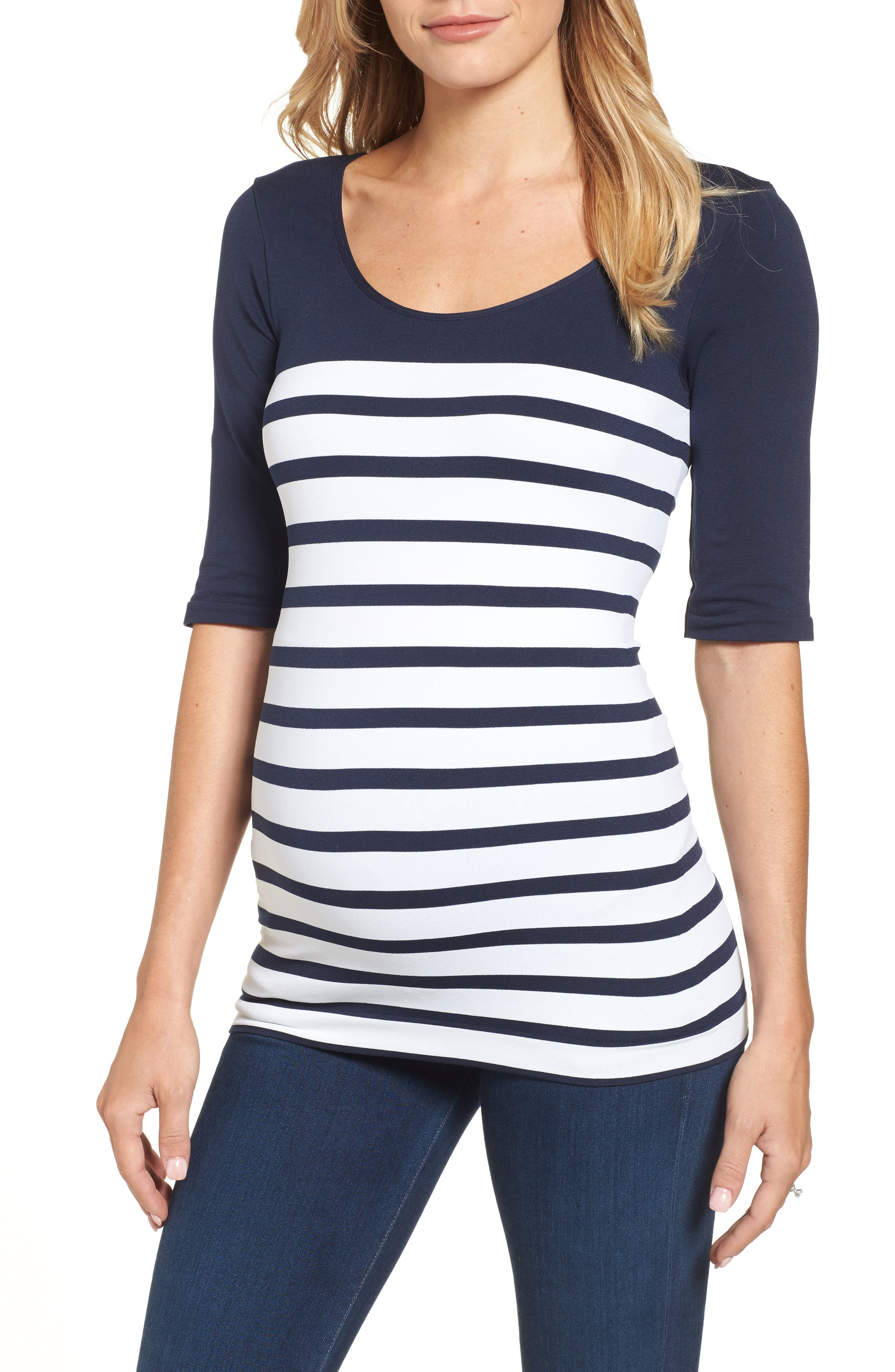 'St. Barts' Ballet Sleeve Maternity Top,                             Alternate thumbnail 2, color,                             NAVY/ WHITE