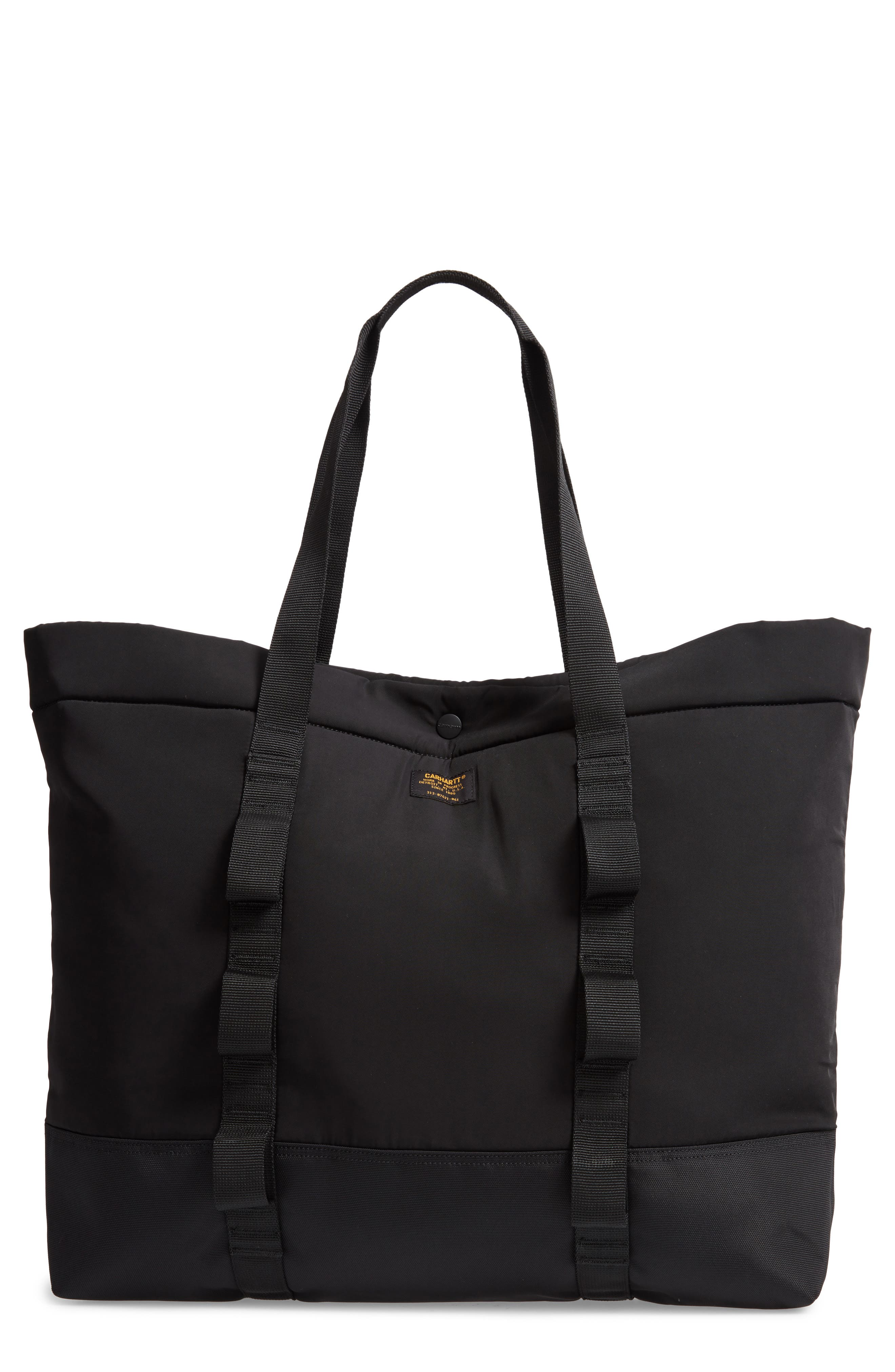 Military Shopper Tote Bag,                         Main,                         color, BLACK / BLACK