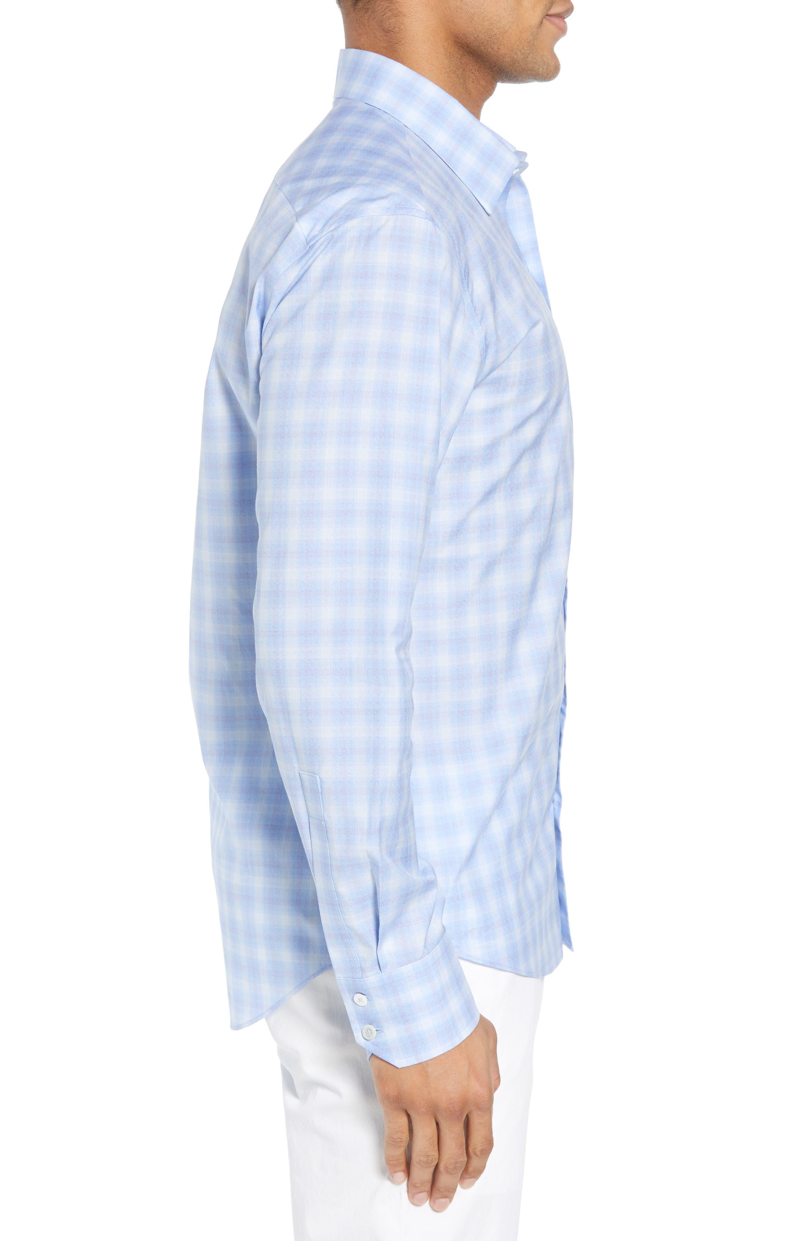 Salamone Plaid Sport Shirt,                             Alternate thumbnail 3, color,                             SKY