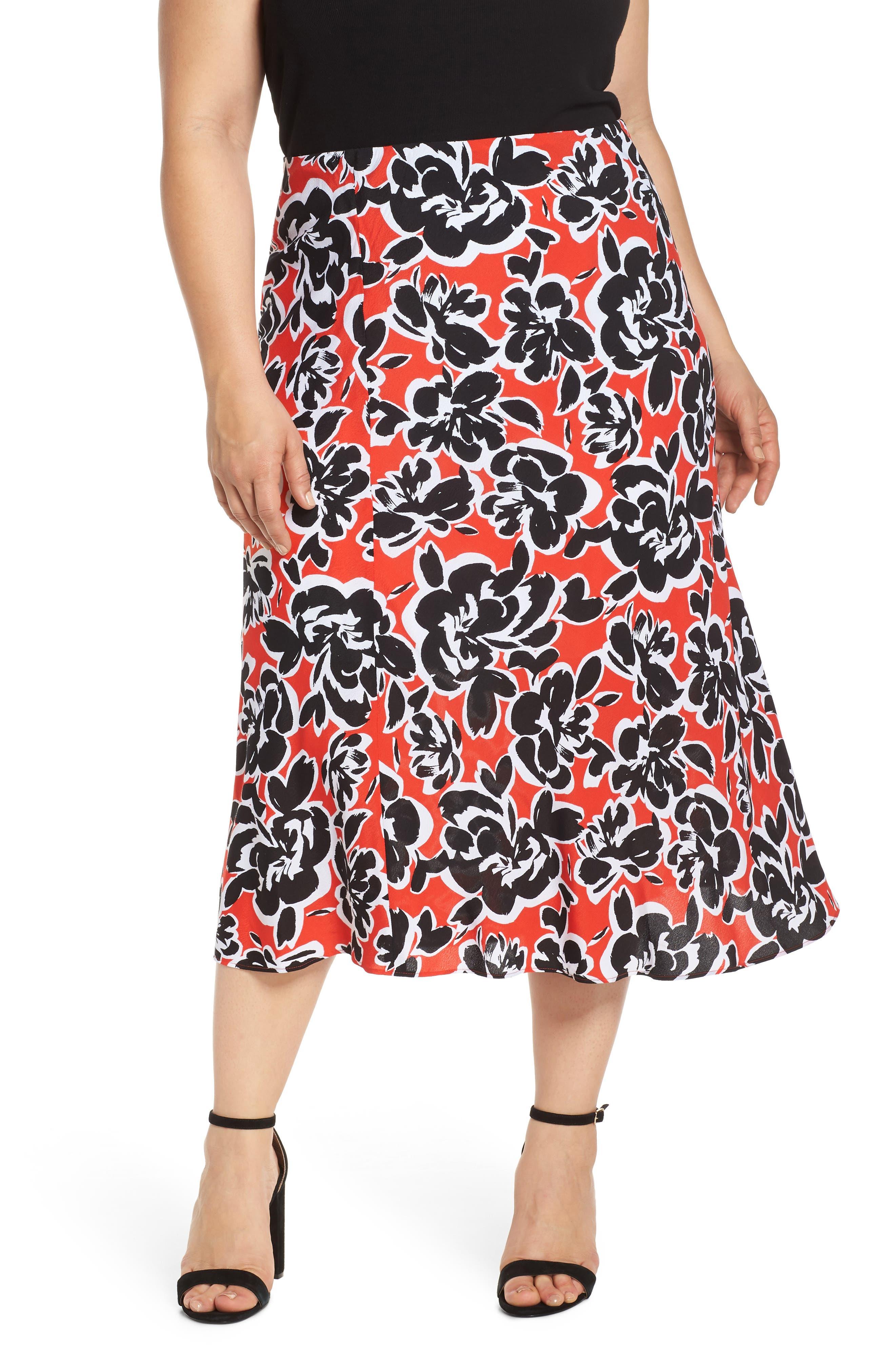 Plus Size Leith Bias Cut Midi Skirt, Red