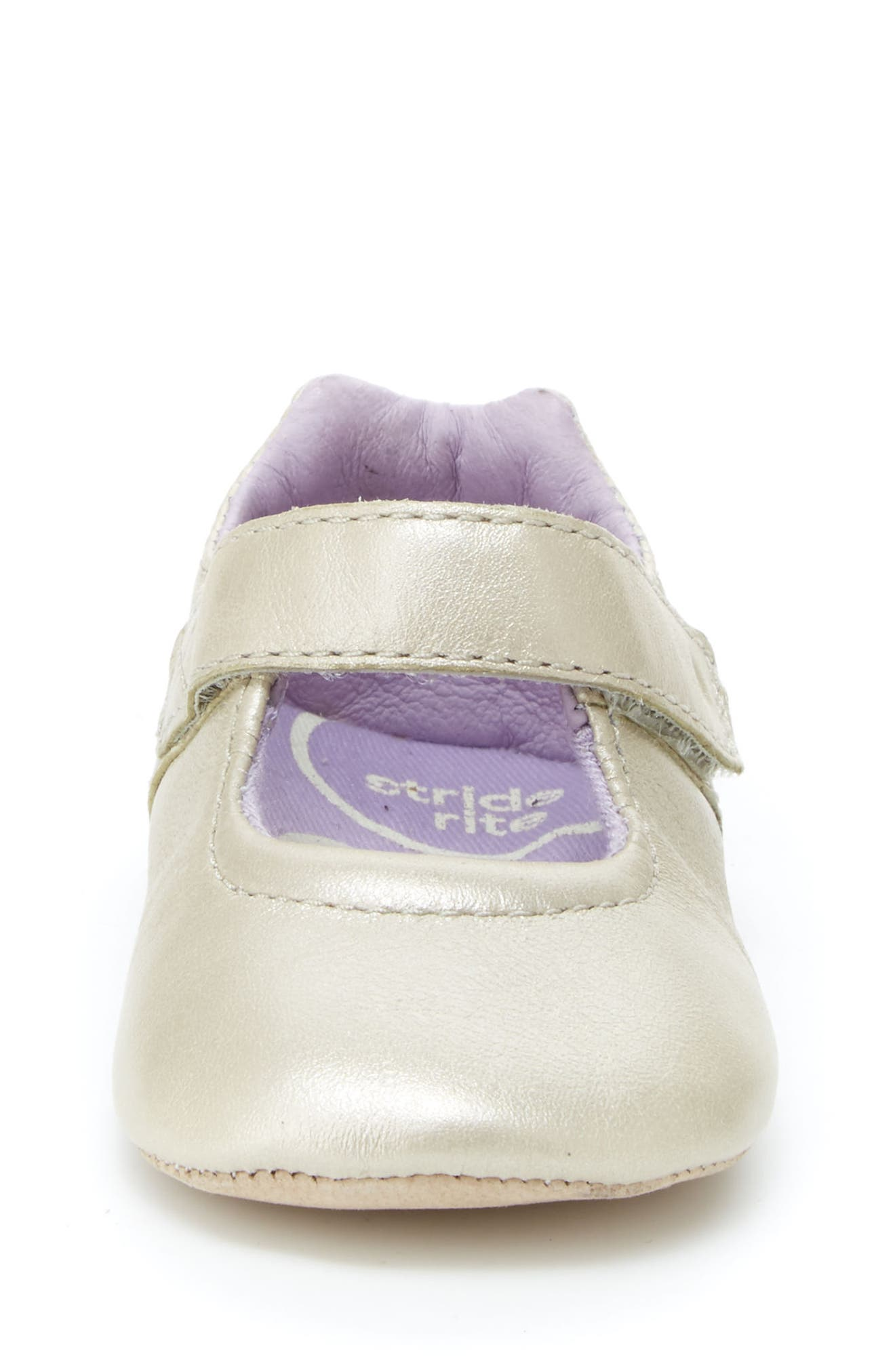 Liza Mary Jane Crib Shoe,                             Alternate thumbnail 4, color,                             CHAMPAGNE LEATHER