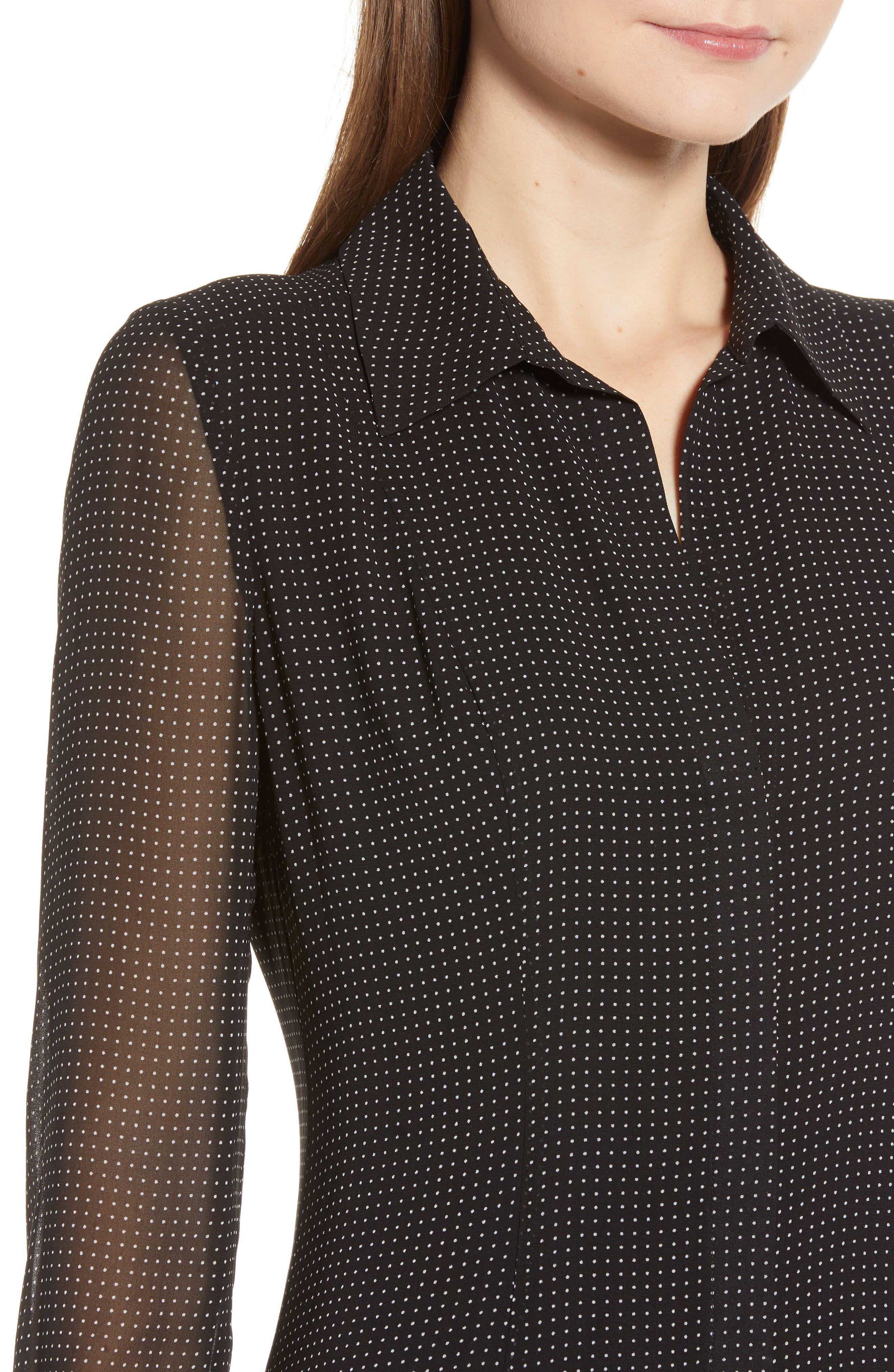REBECCA MINKOFF,                             Kimberly Dot Sheer Sleeve Dress,                             Alternate thumbnail 5, color,                             BLACK/ WHITE