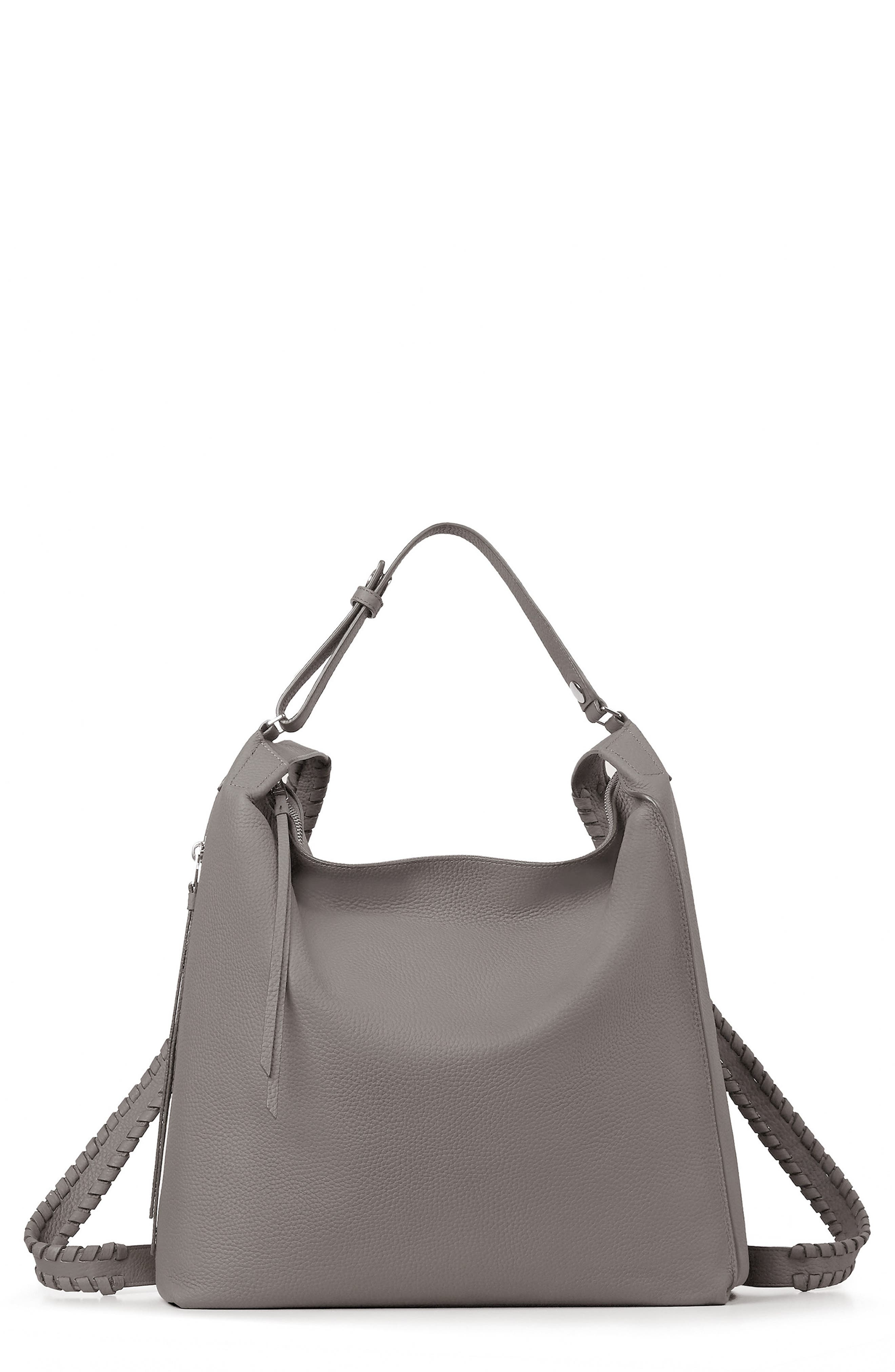 Kita Convertible Leather Backpack,                         Main,                         color, STORM GREY