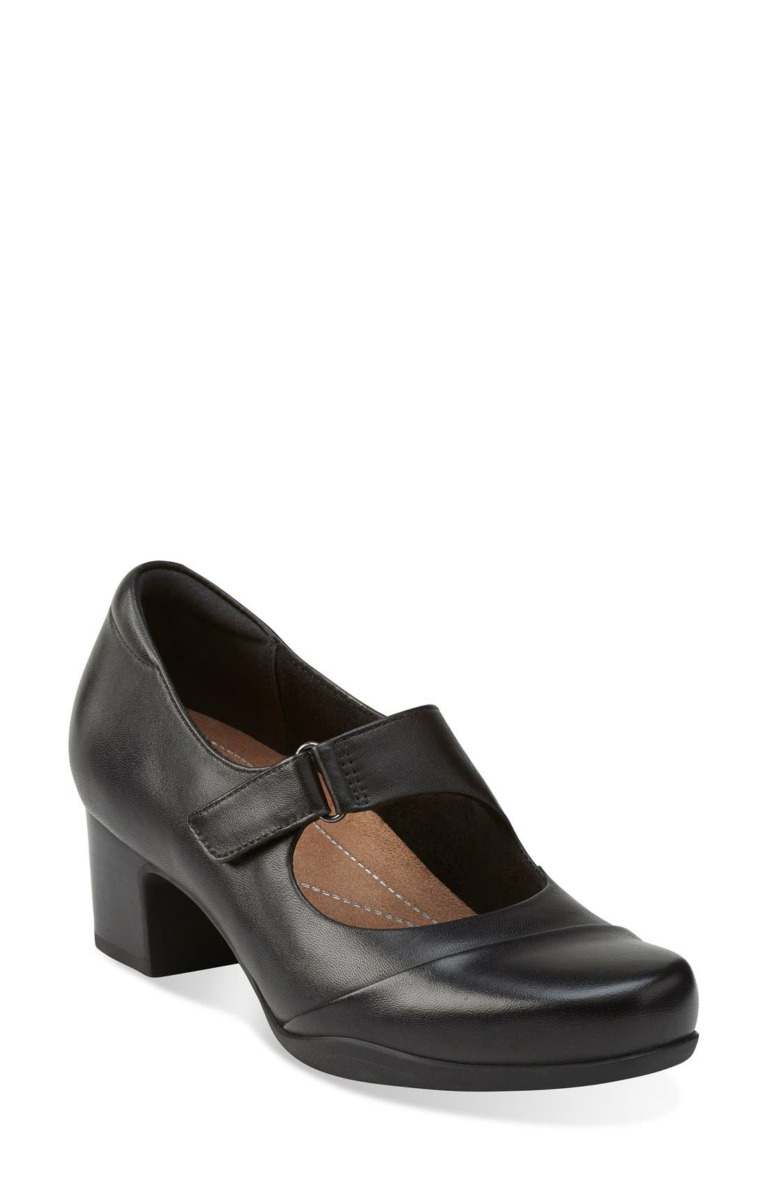 'Rosalyn Wren' Mary Jane Pump,                             Main thumbnail 1, color,                             BLACK LEATHER
