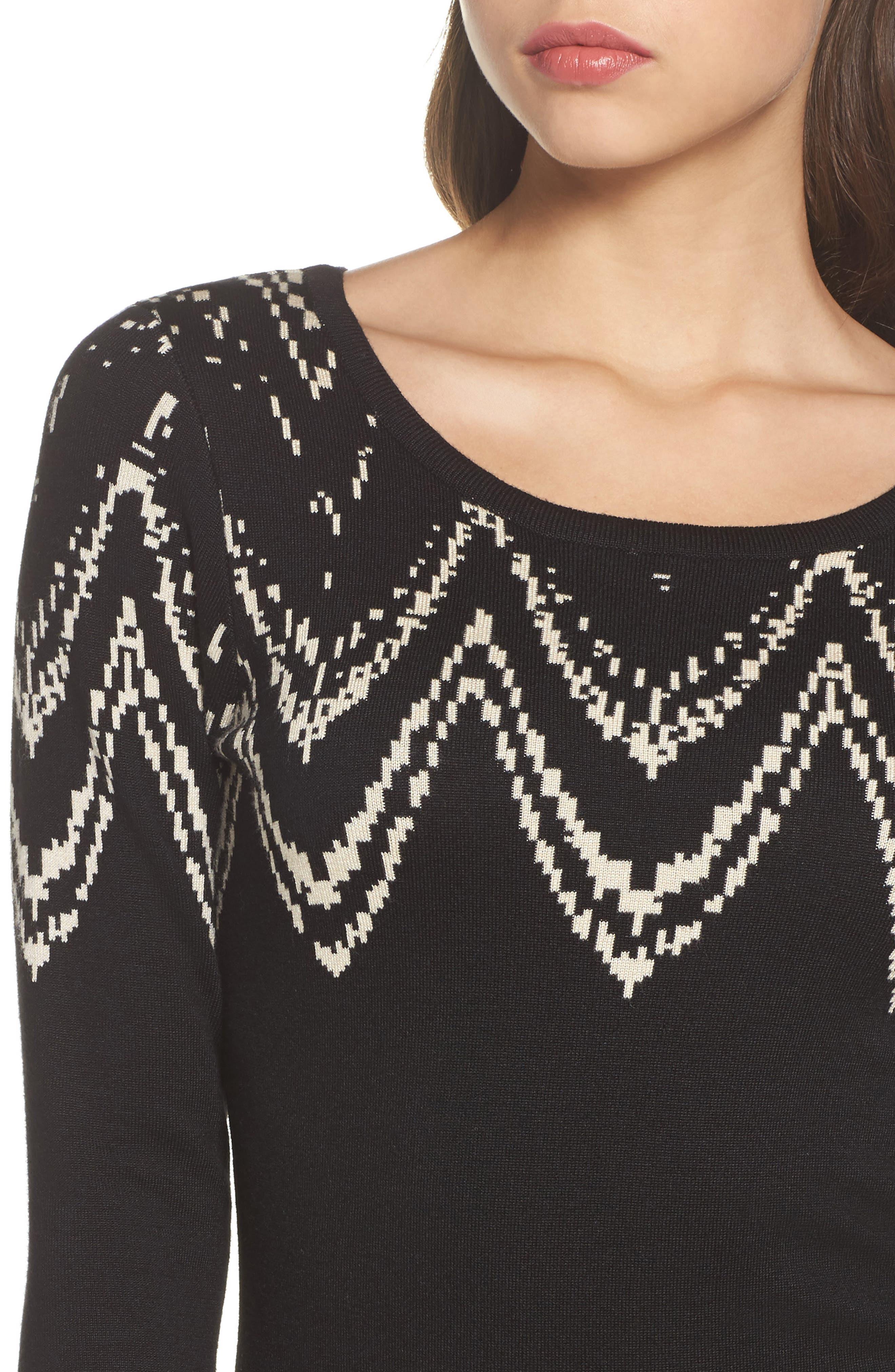Print Sweater Dress,                             Alternate thumbnail 4, color,                             001