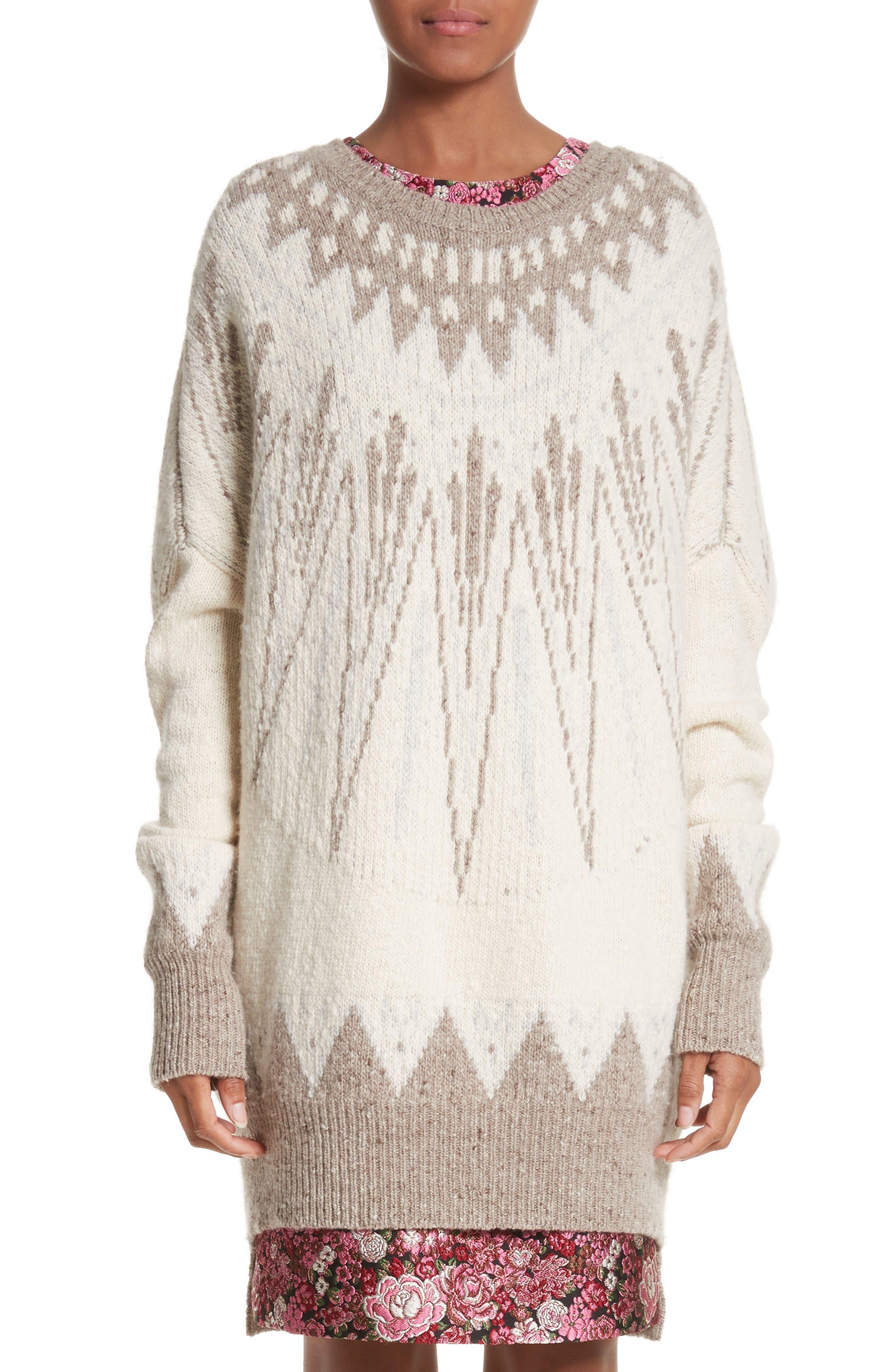 Marled Merino Wool & Cashmere Fair Isle Sweater,                         Main,                         color, 900