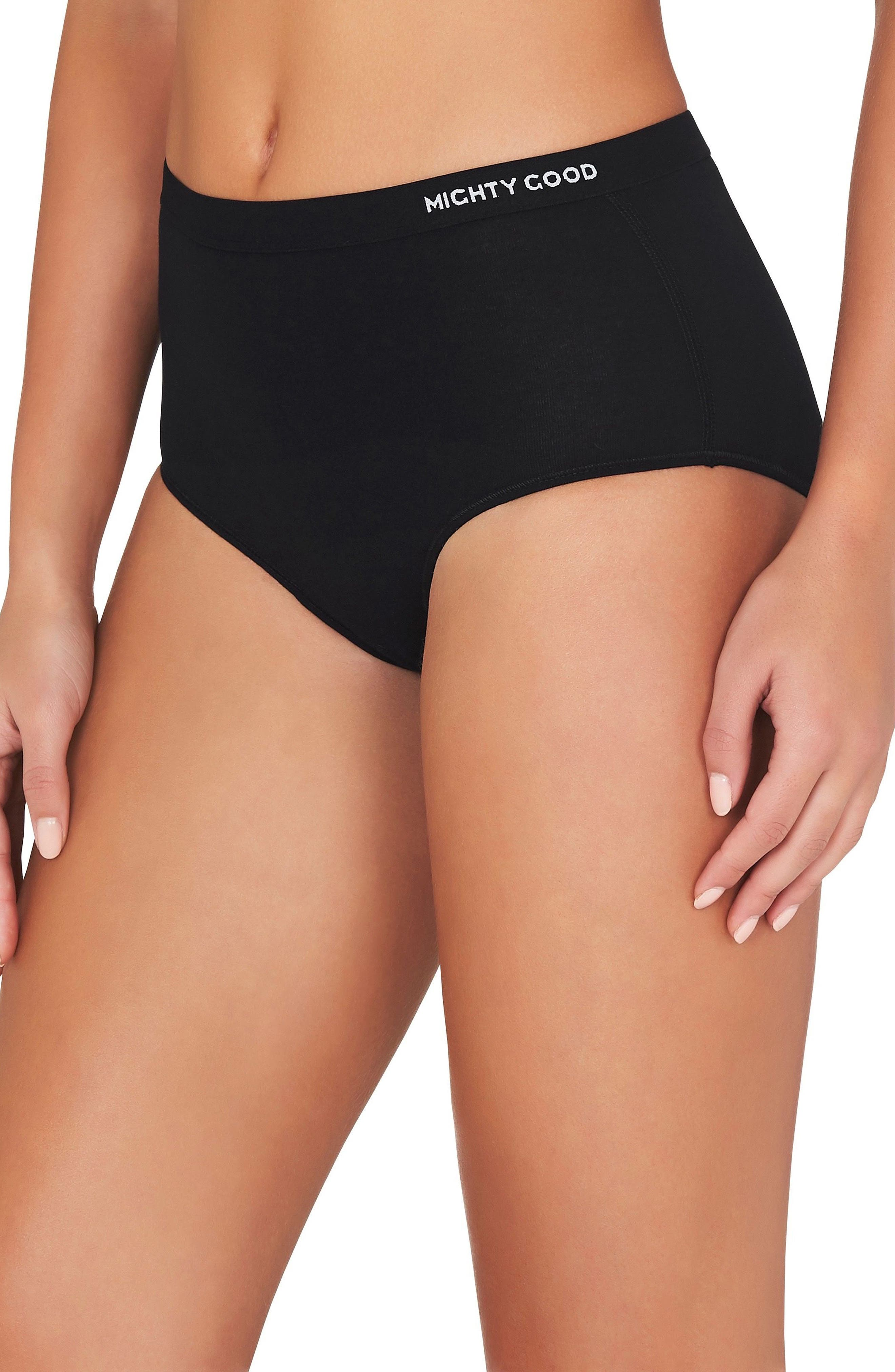 3-Pack Stretch Organic Cotton High Waist Briefs,                             Alternate thumbnail 4, color,                             BLACK