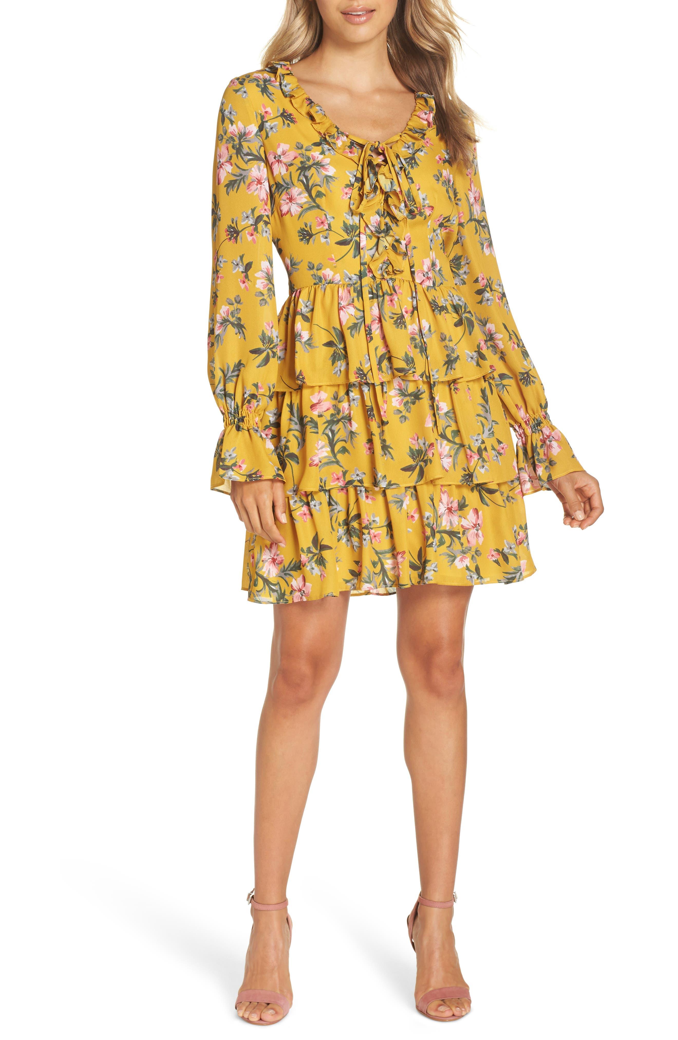 Floral Ruffle Dress,                             Main thumbnail 1, color,                             MARIGOLD MULTI