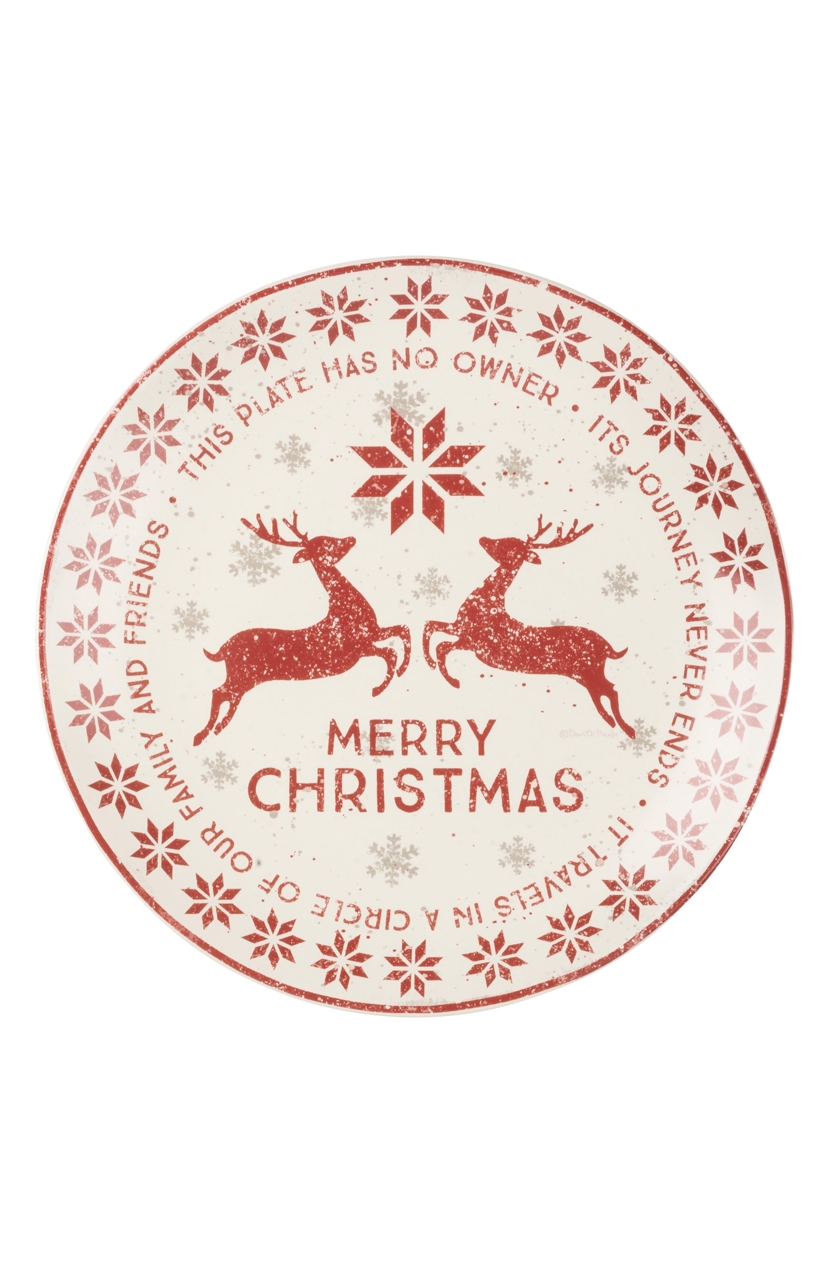 Christmas Giving Stoneware Plate,                         Main,                         color, 900