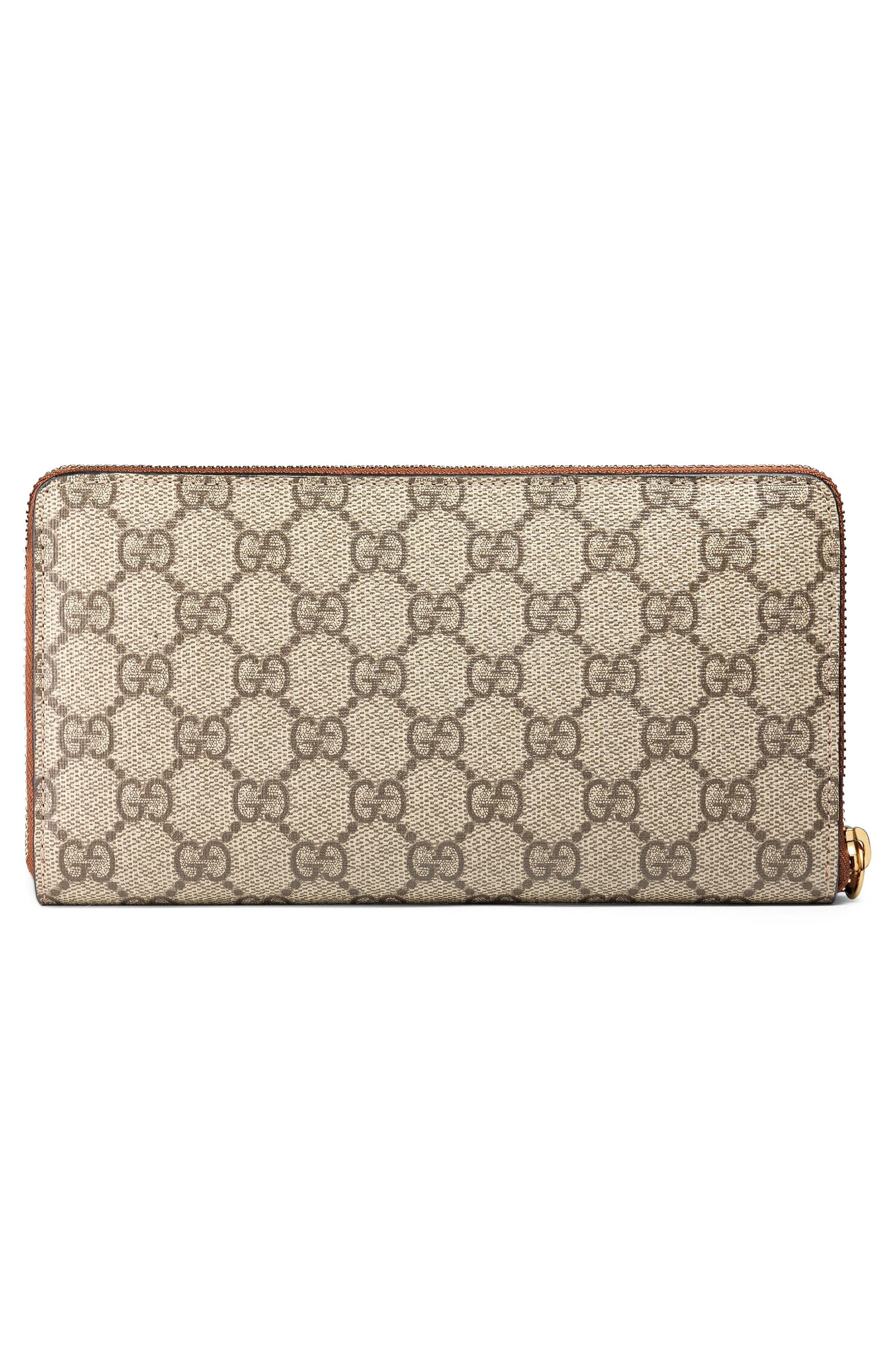 Linea GG Supreme Canvas Zip Around Wallet,                             Alternate thumbnail 3, color,                             BEIGE EBONY/ CUIR