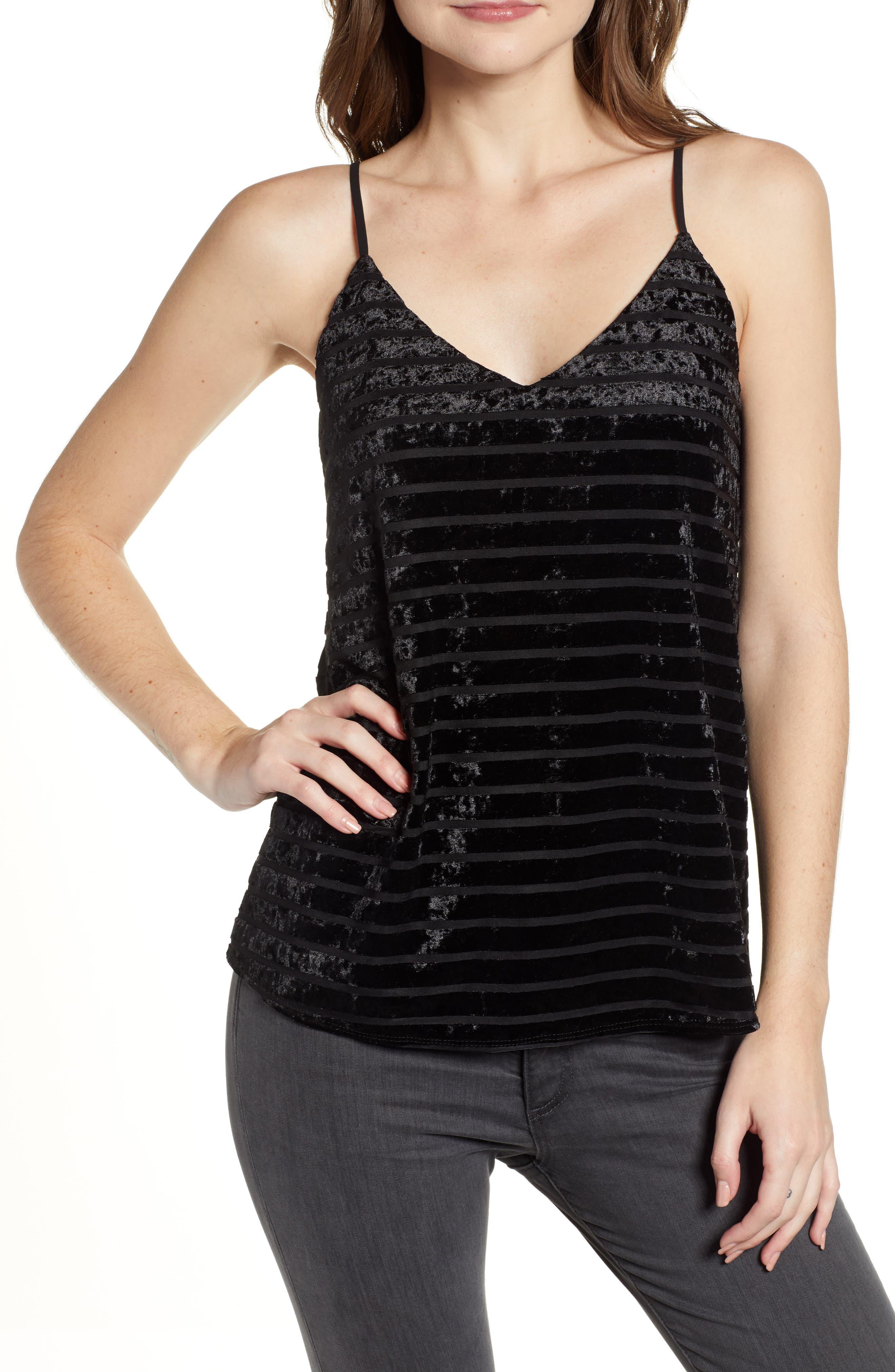 Chelsea28 Velvet Stripe Camisole, Black