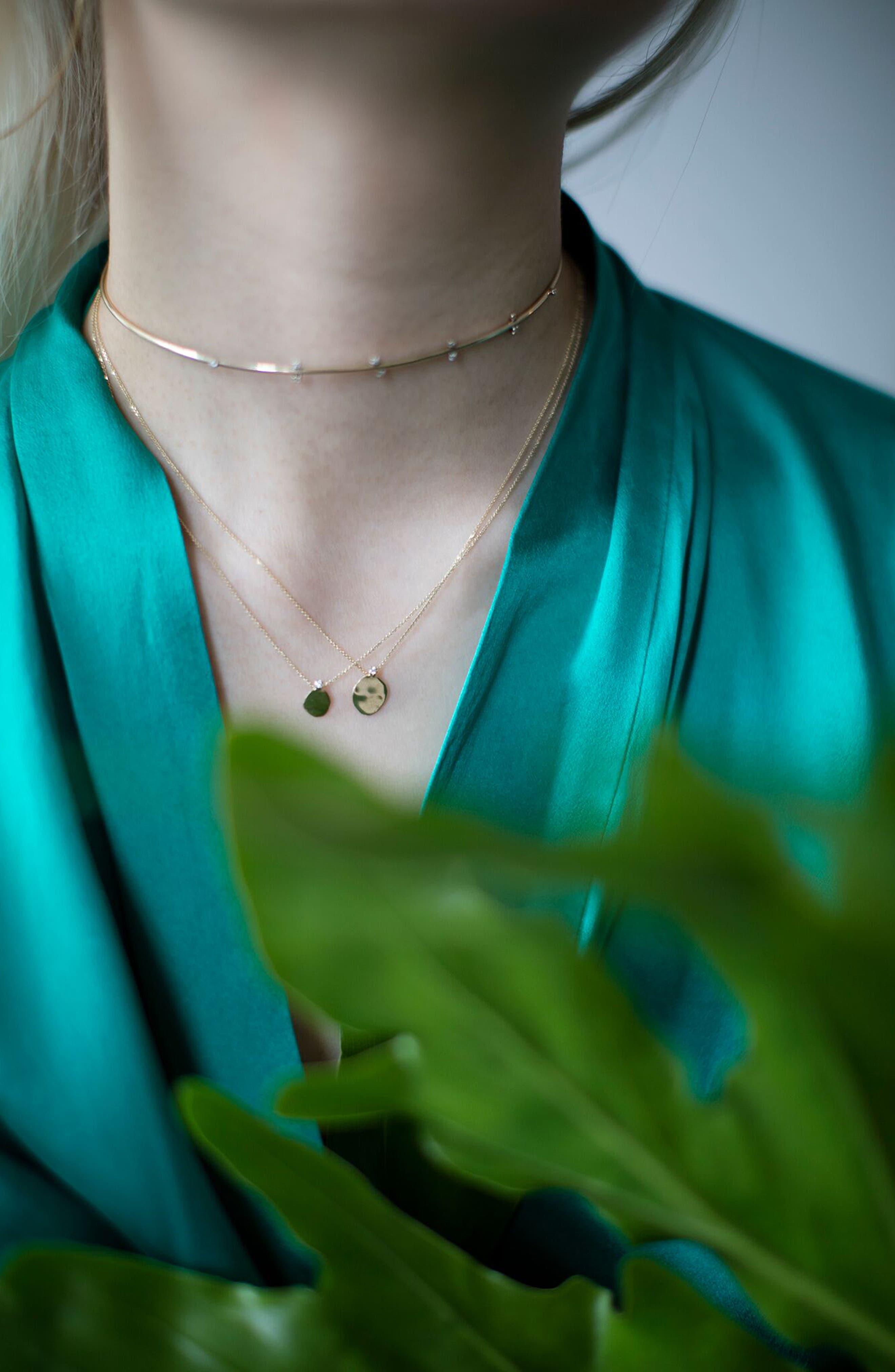 Large Disc Diamond Pendant Necklace,                             Alternate thumbnail 2, color,                             710