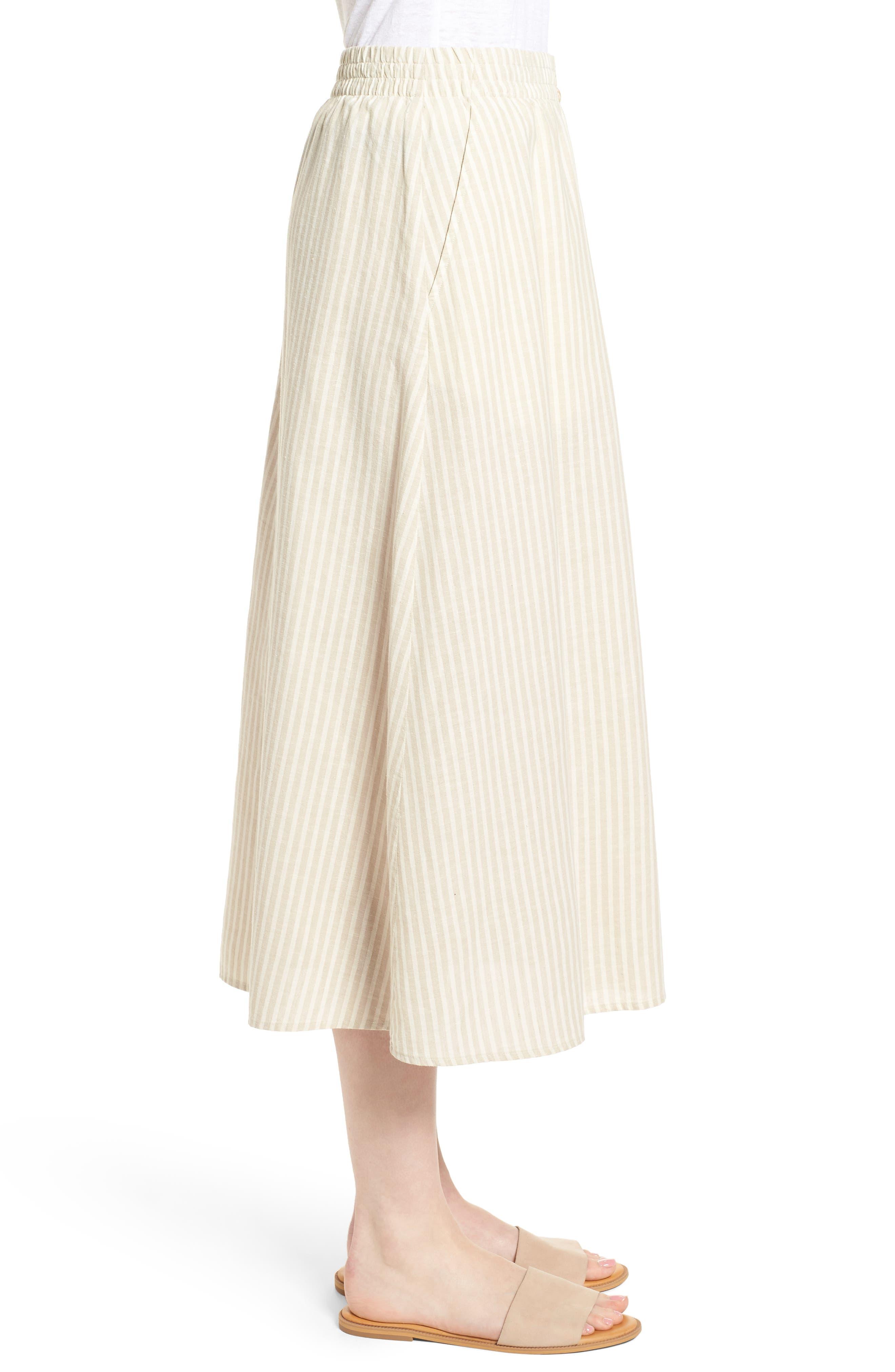 EILEEN FISHER,                             Stripe Hemp & Organic Cotton Midi Skirt,                             Alternate thumbnail 3, color,                             257